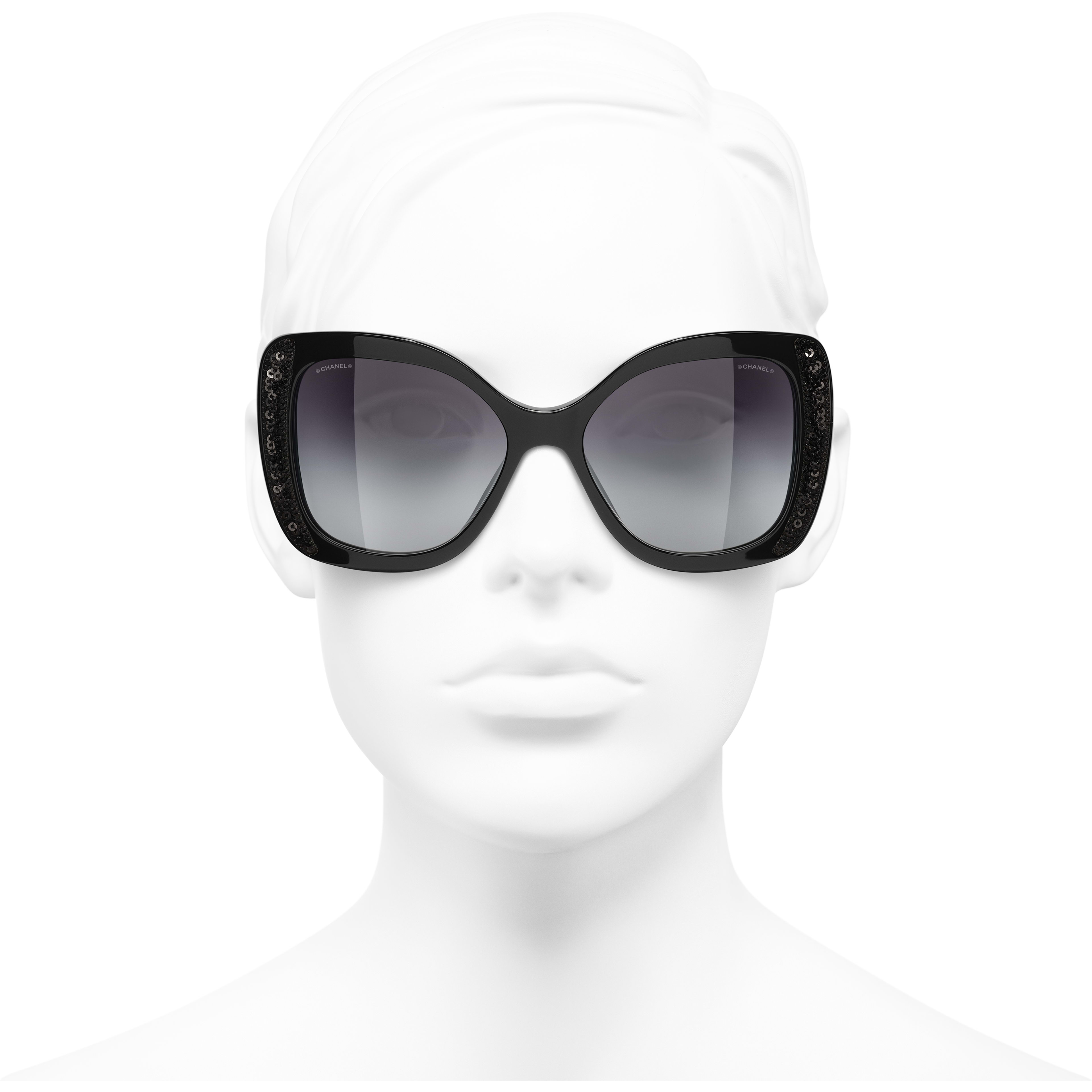 Butterfly Sunglasses - Black - Acetate & Sequins - CHANEL - Worn front view - see standard sized version