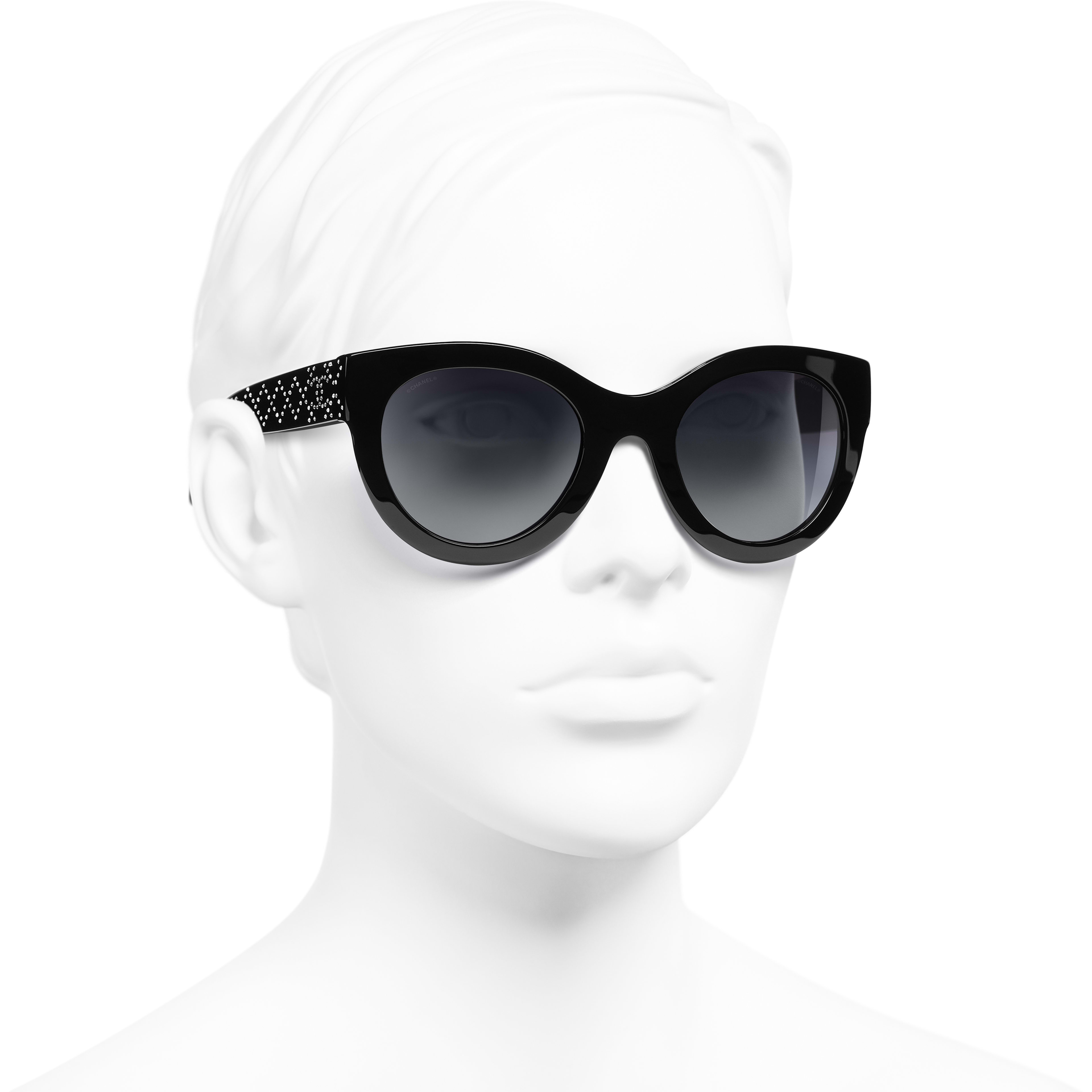 Butterfly Sunglasses - Black - Acetate & Strass - CHANEL - Worn 3/4 view - see standard sized version