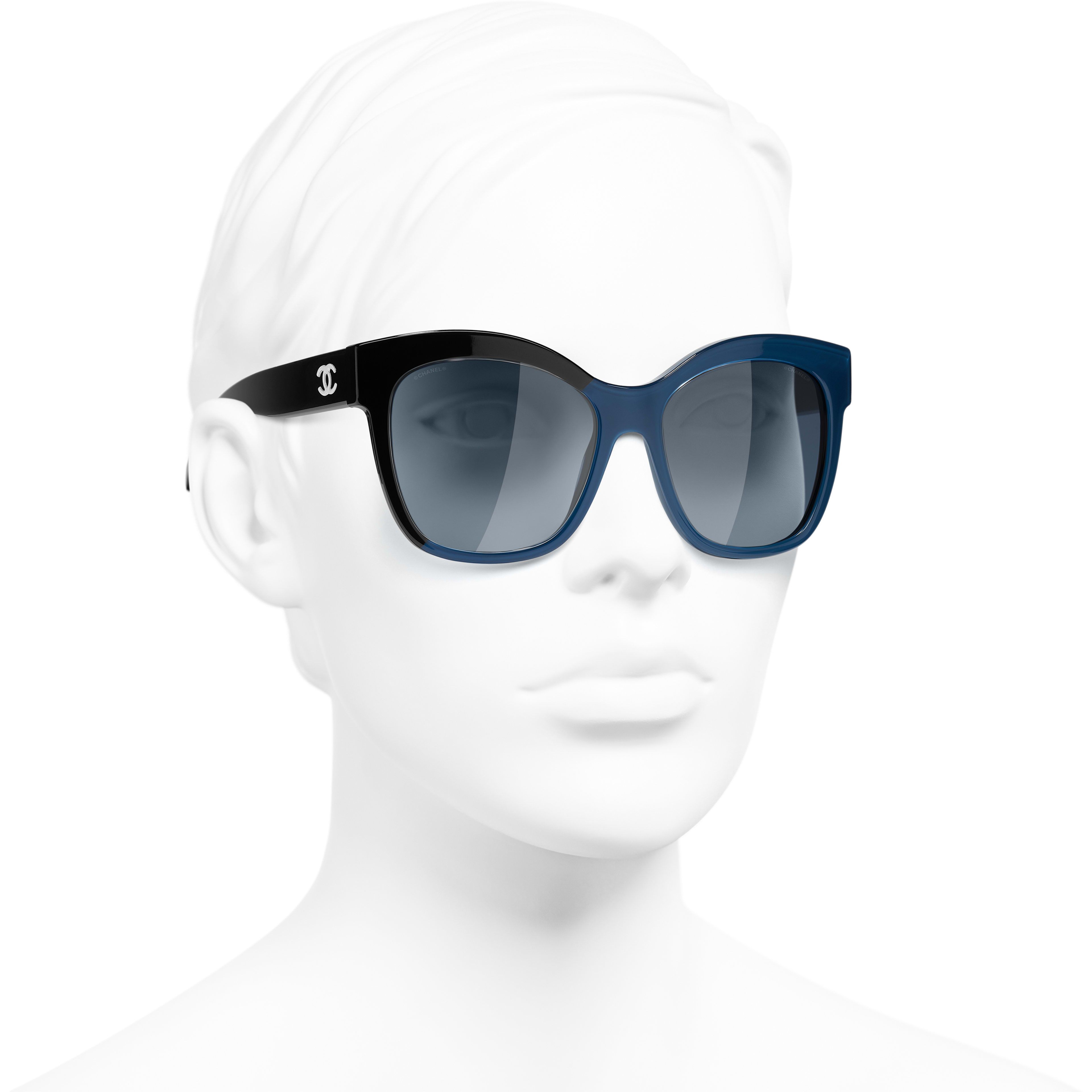 Butterfly Sunglasses - Black & Blue - Acetate - CHANEL - Worn 3/4 view - see standard sized version