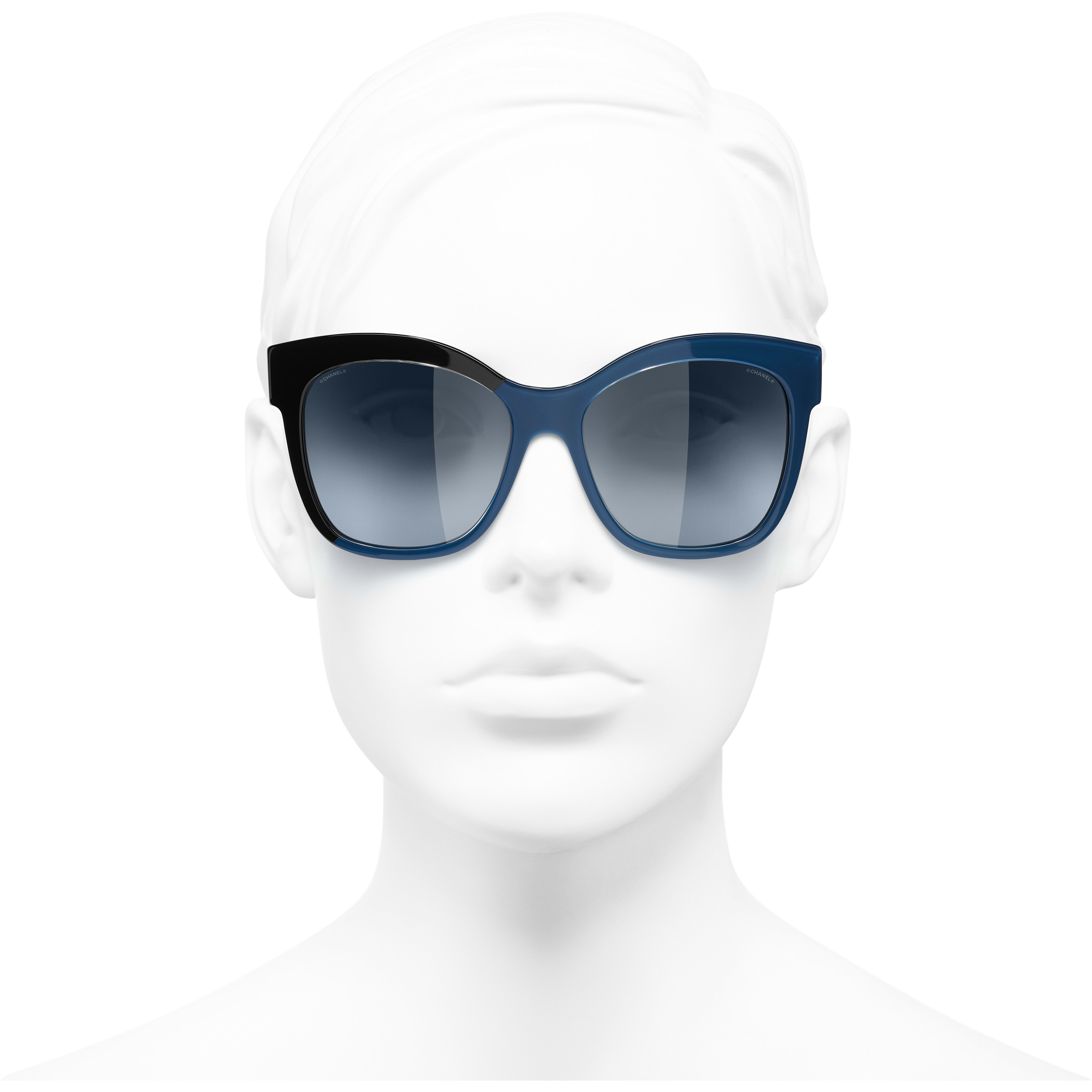 Butterfly Sunglasses - Black & Blue - Acetate - CHANEL - Worn front view - see standard sized version