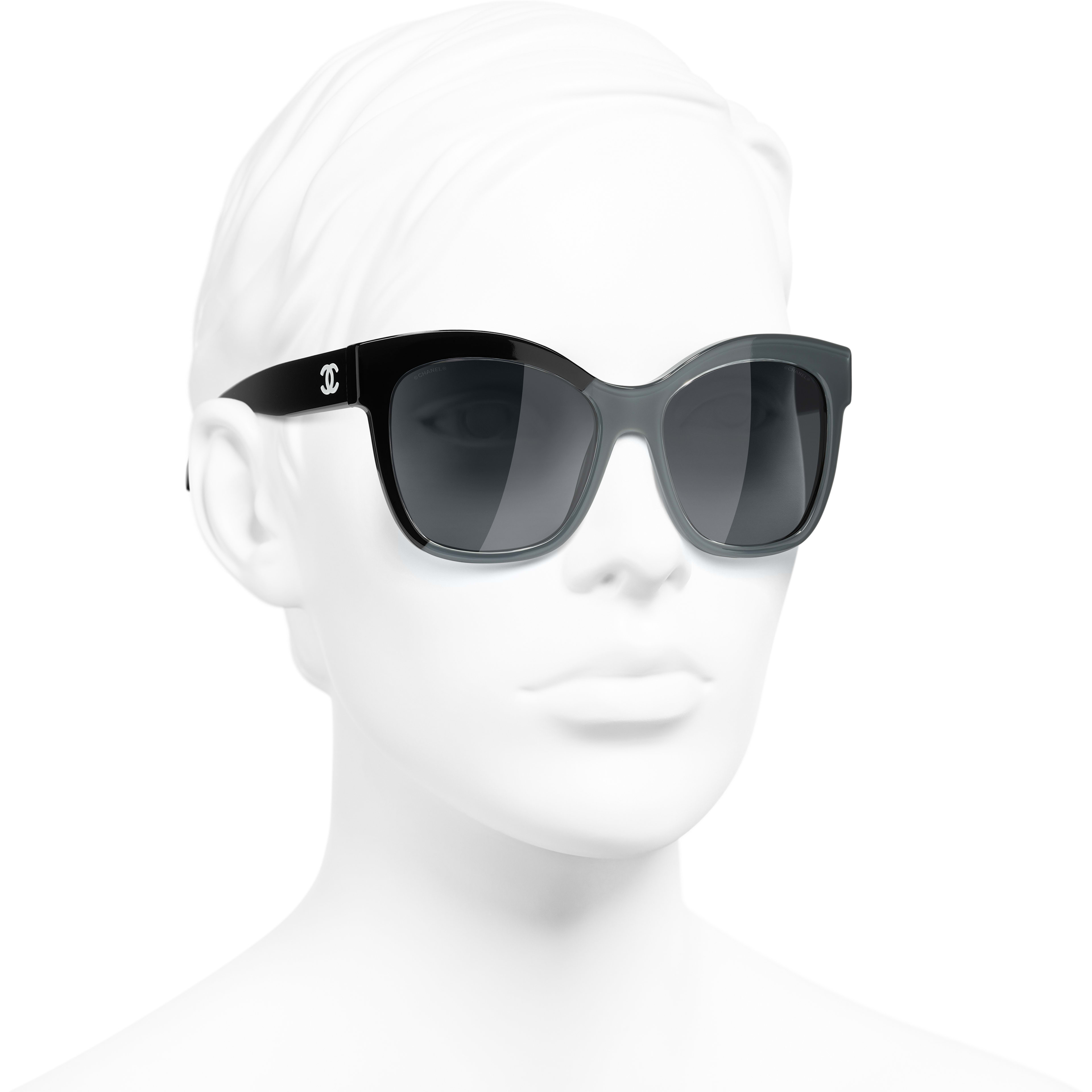 Butterfly Sunglasses - Black & Grey - Acetate - CHANEL - Worn 3/4 view - see standard sized version