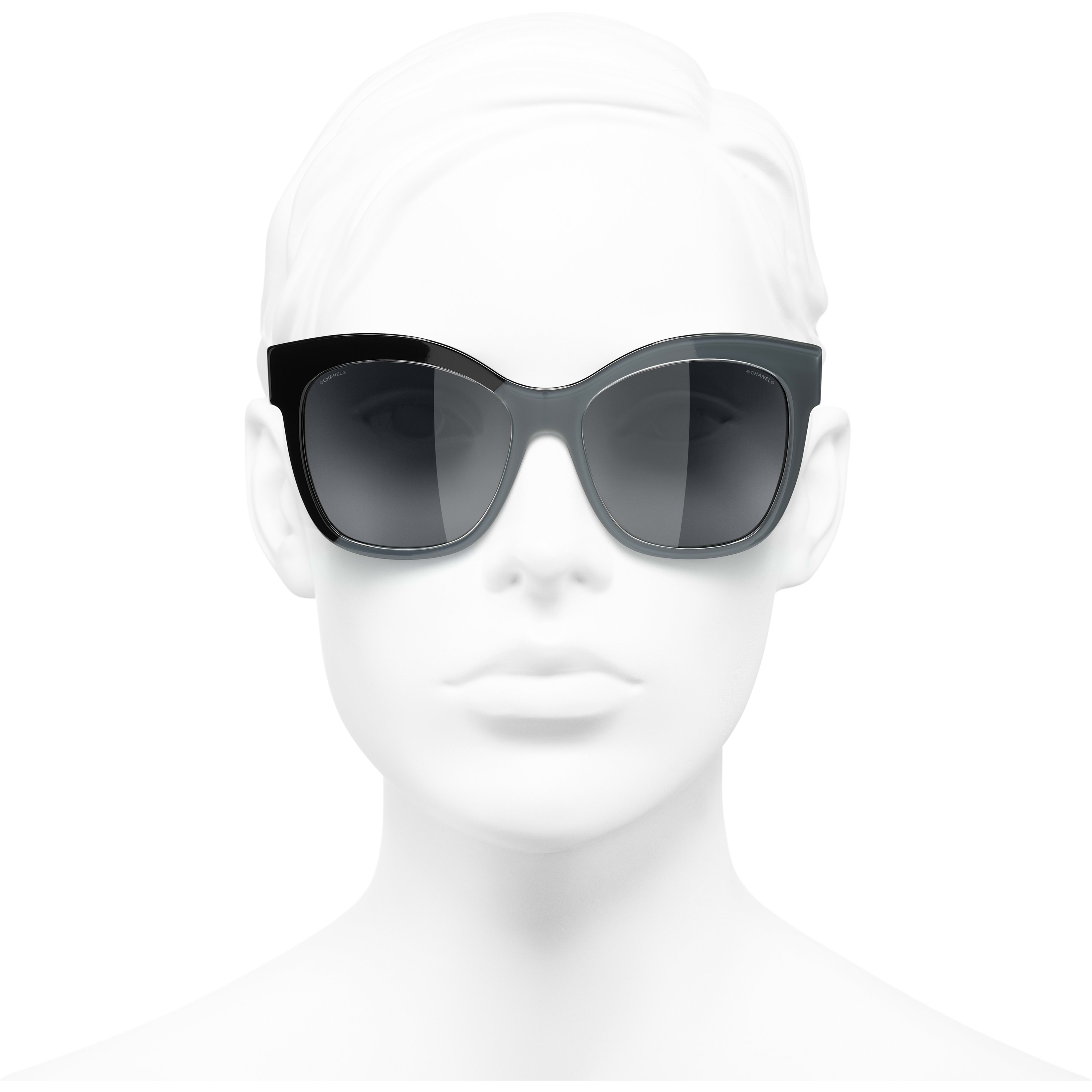 Butterfly Sunglasses - Black & Grey - Acetate - CHANEL - Worn front view - see standard sized version