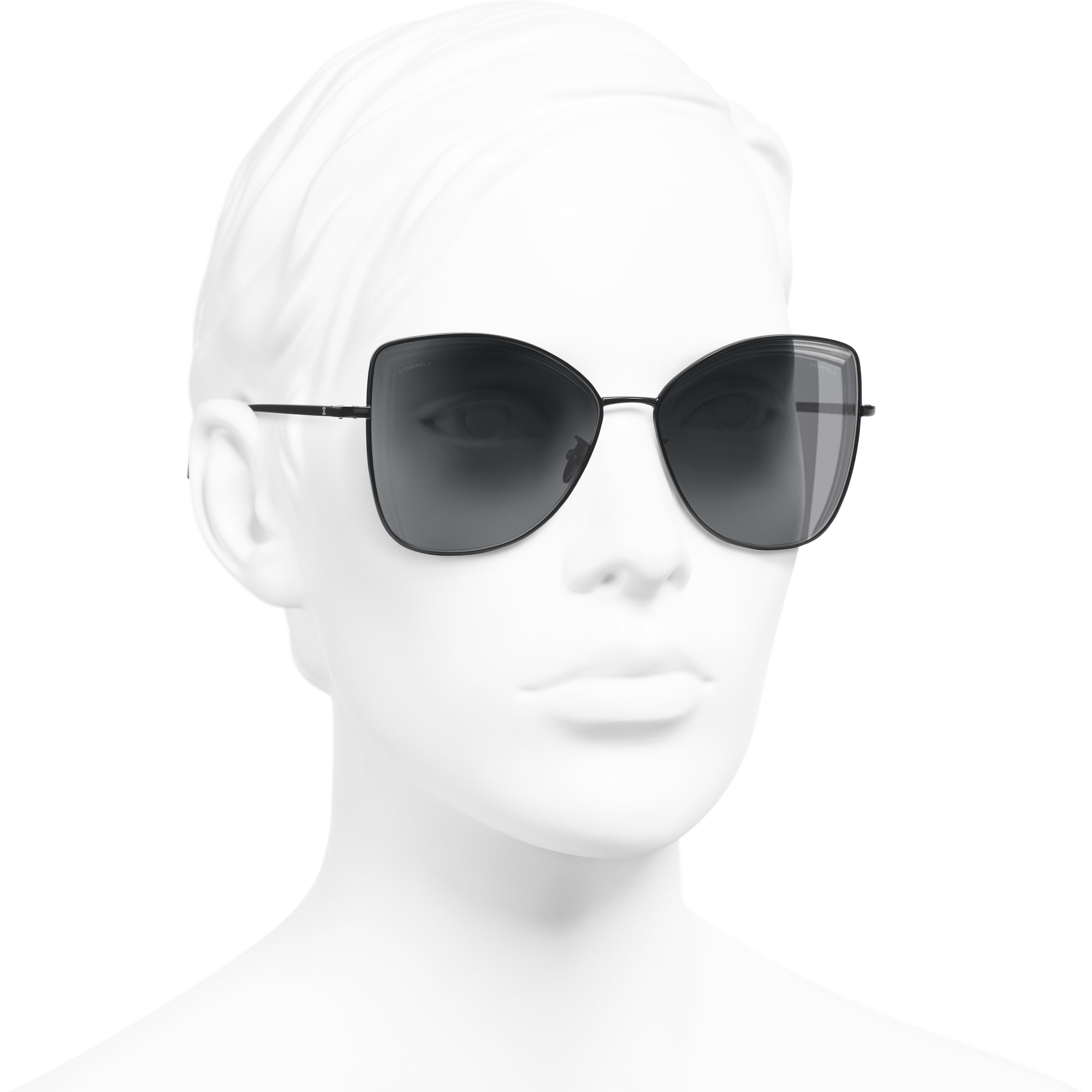 Butterfly Sunglasses - Black - Metal - Worn 3/4 view - see standard sized version