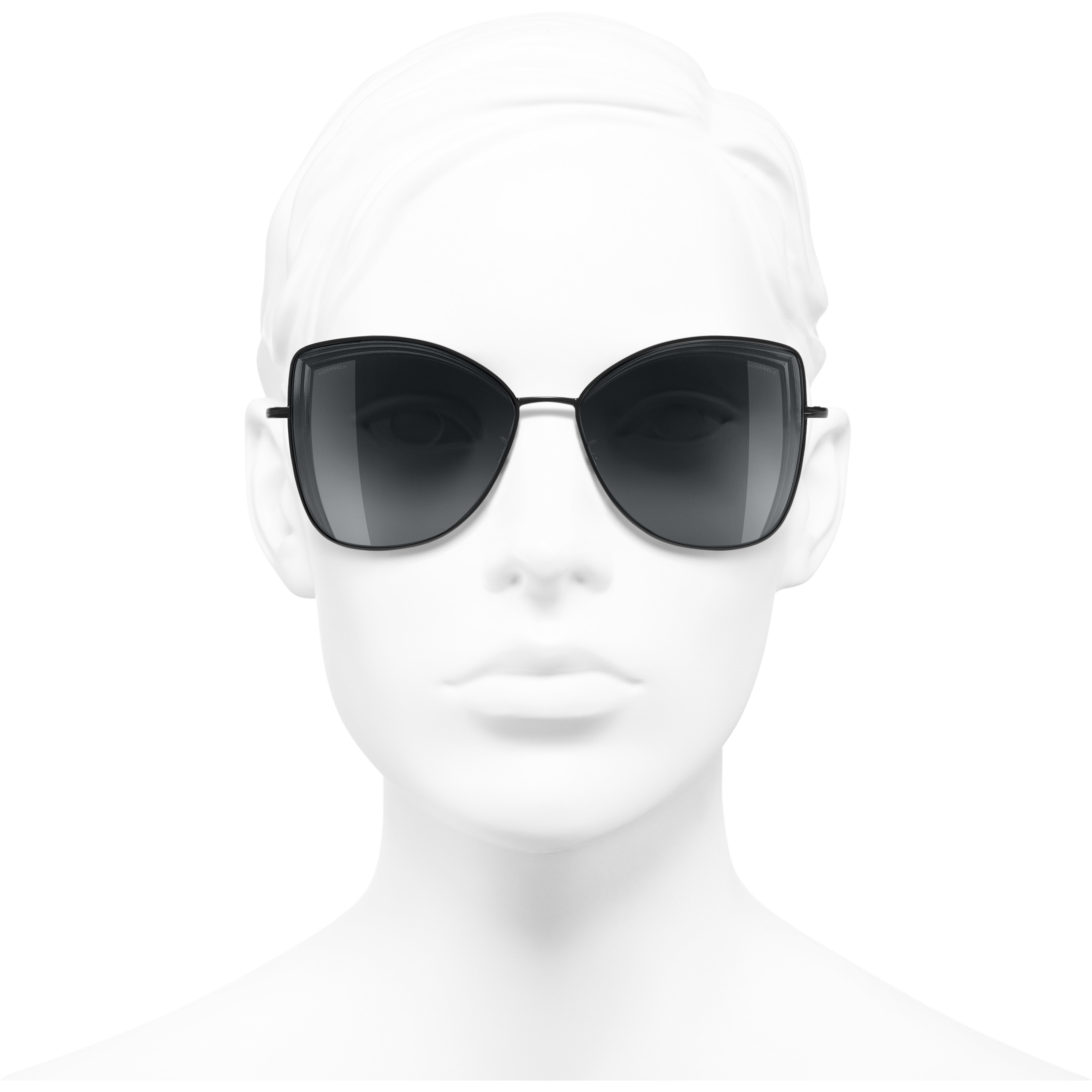 Butterfly Sunglasses - Black - Metal - Worn front view - see standard sized version