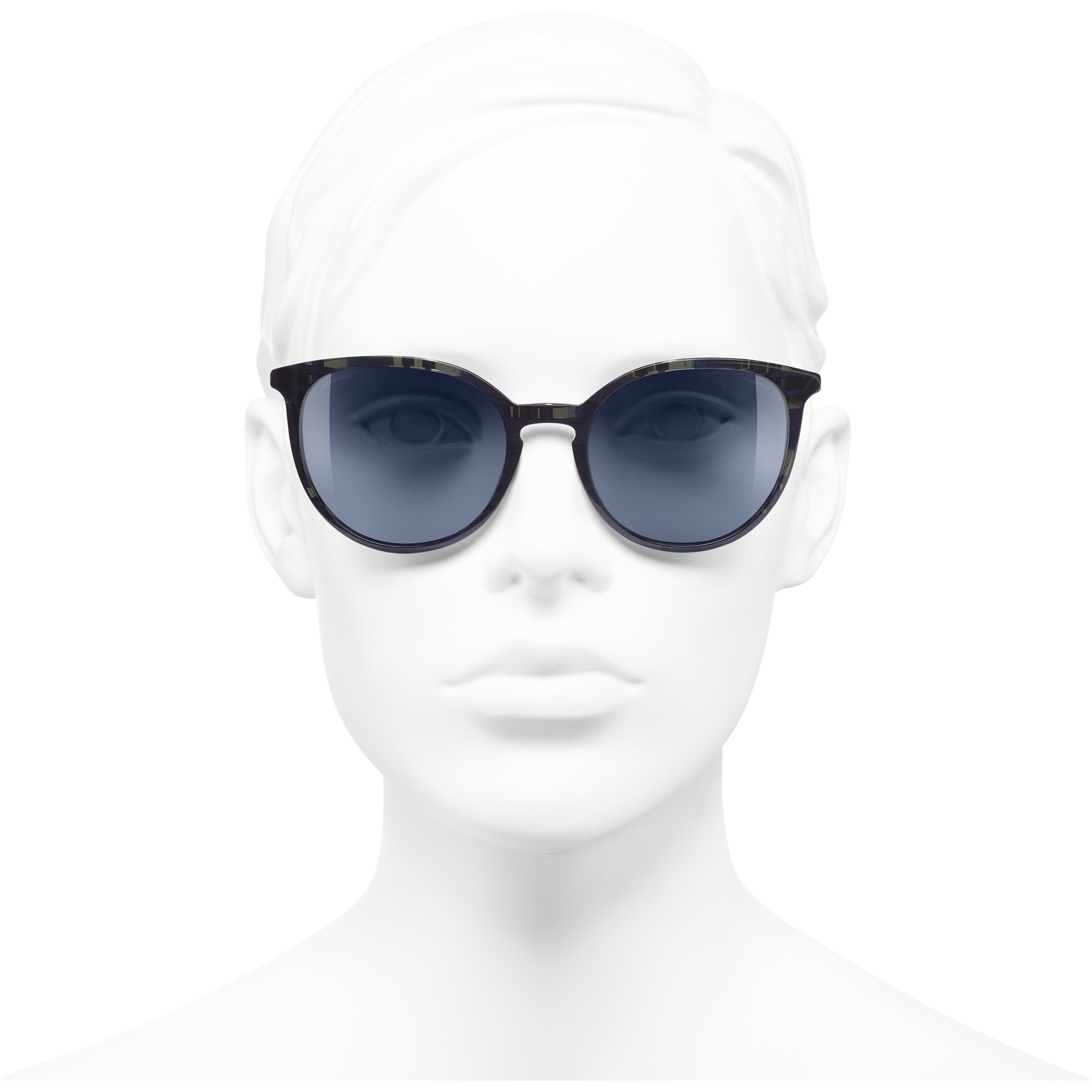 Butterfly Sunglasses - Blue - Acetate & Imitation Pearls - CHANEL - Worn front view - see standard sized version