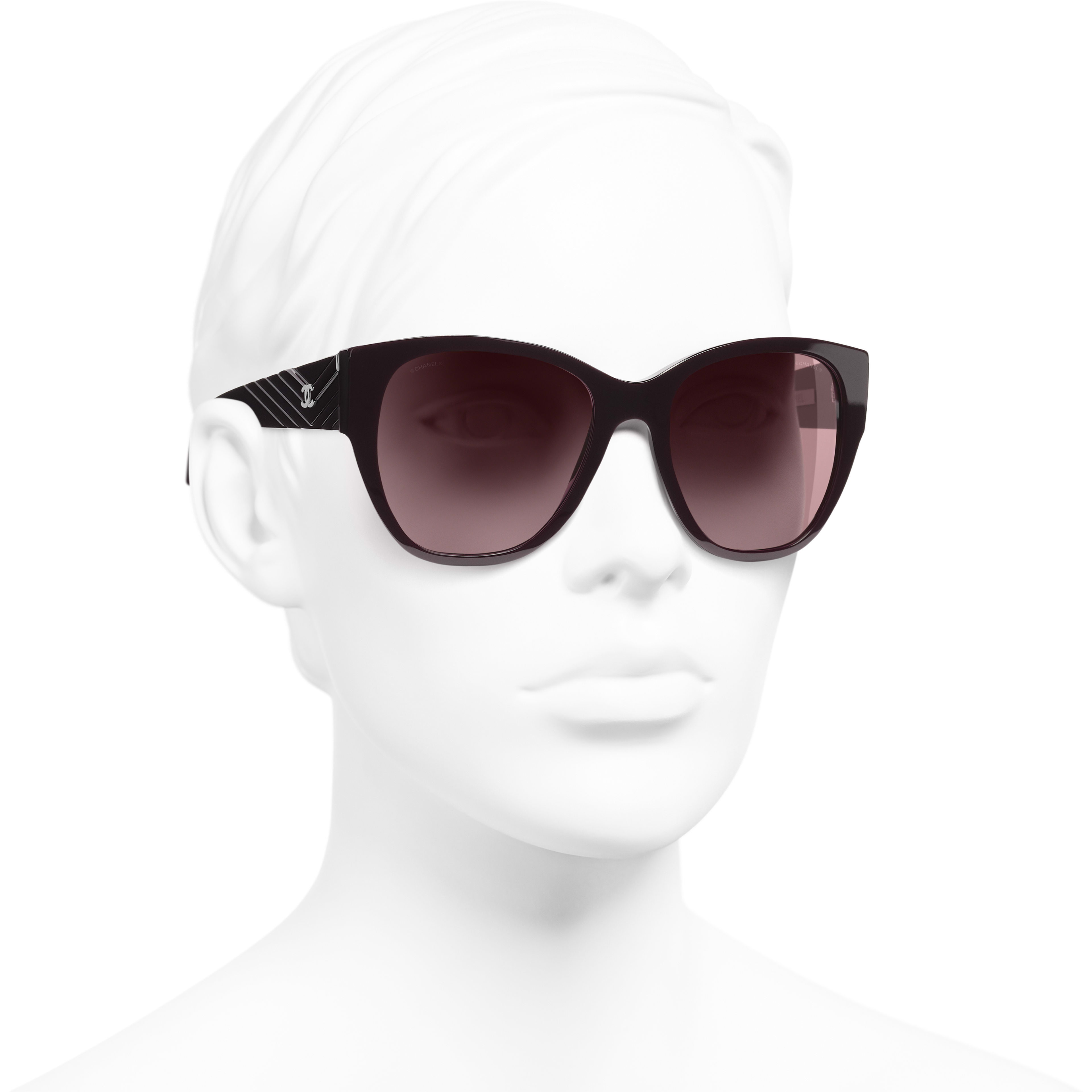Butterfly Sunglasses - Burgundy - Acetate - Worn 3/4 view - see standard sized version