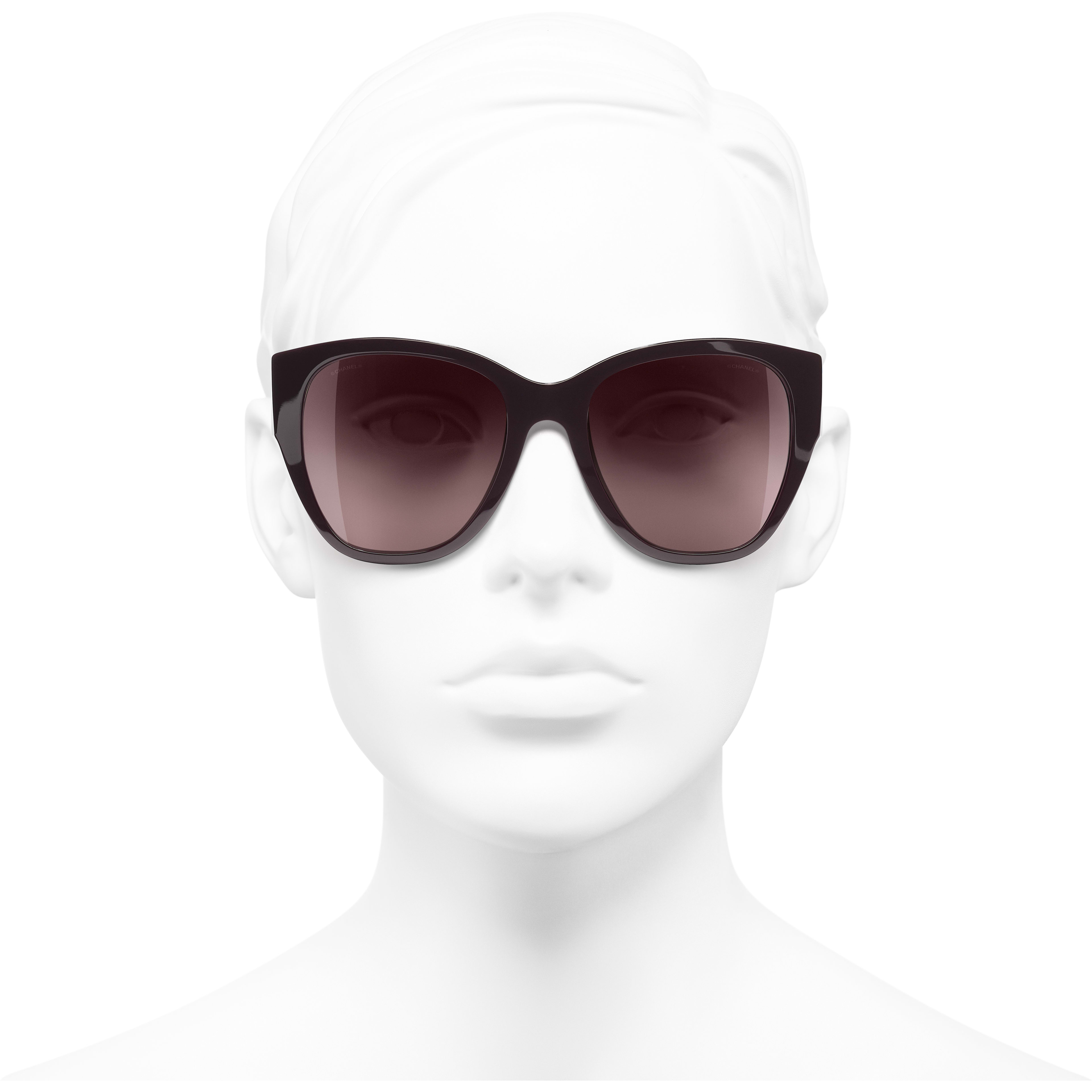 Butterfly Sunglasses - Burgundy - Acetate - Worn front view - see standard sized version