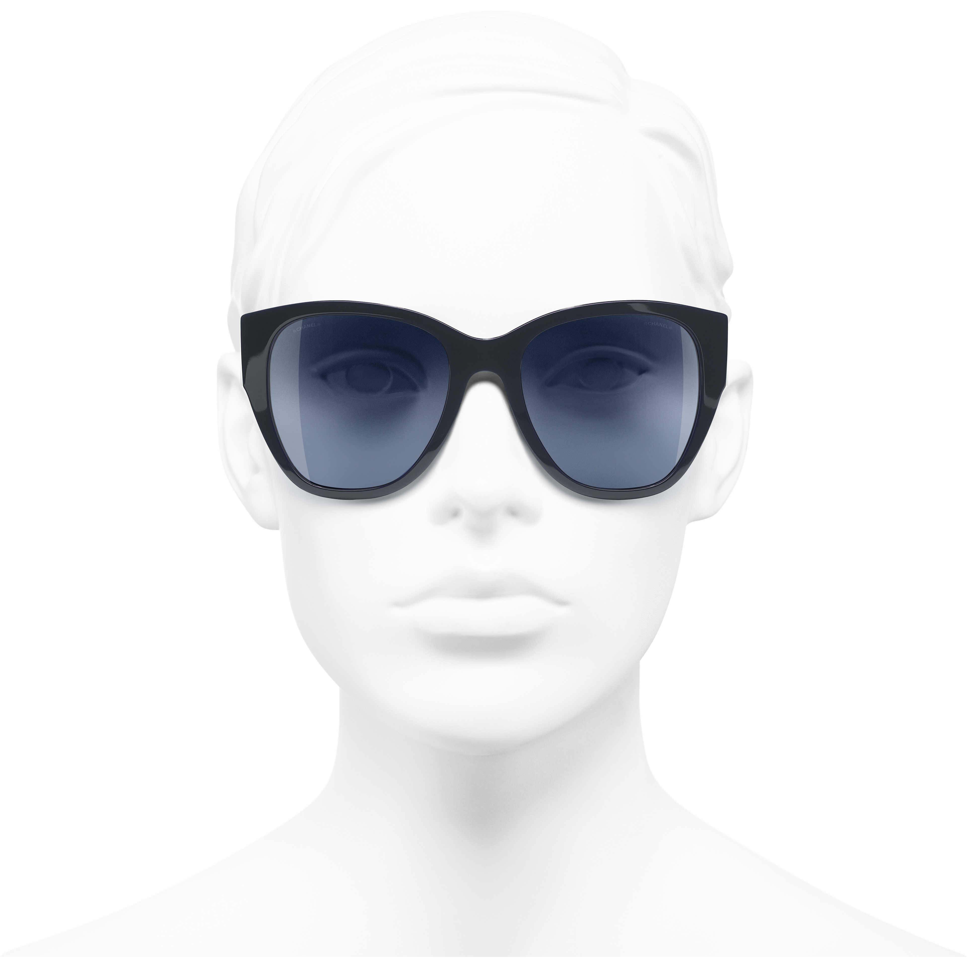 Butterfly Sunglasses - Dark Blue - Acetate - Worn front view - see standard sized version