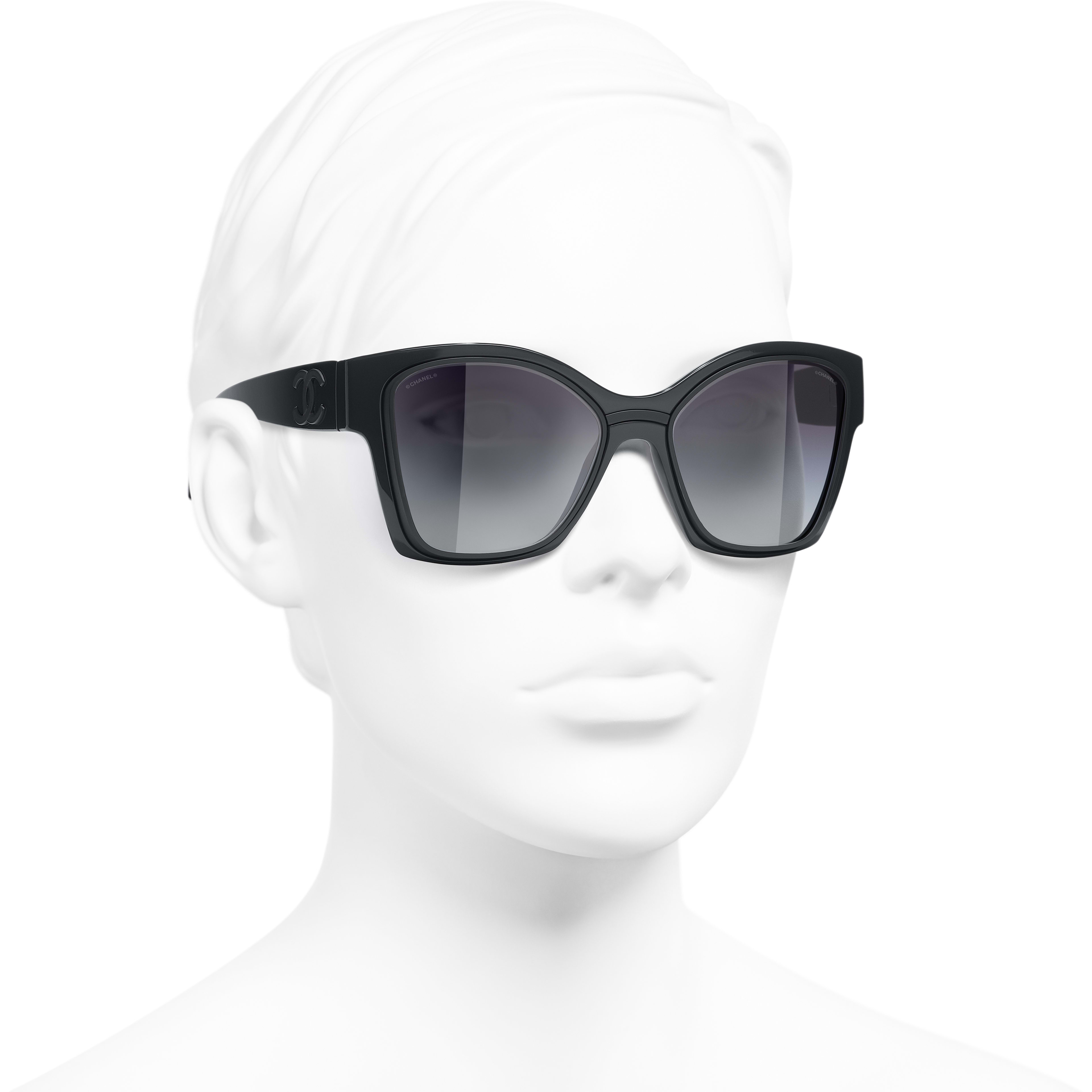 Butterfly Sunglasses - Dark Grey - Nylon & Metal - CHANEL - Worn 3/4 view - see standard sized version
