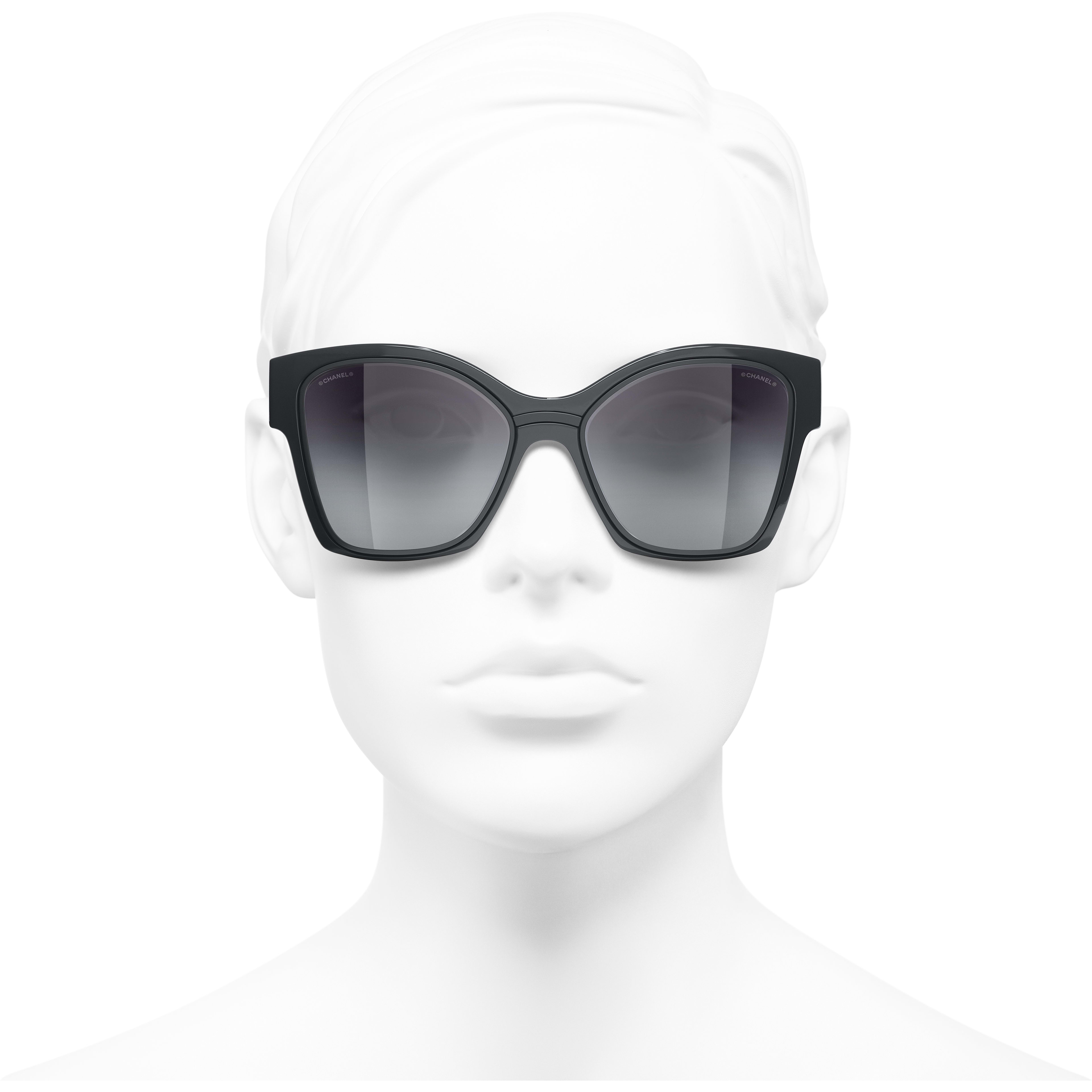 Butterfly Sunglasses - Dark Grey - Nylon & Metal - CHANEL - Worn front view - see standard sized version