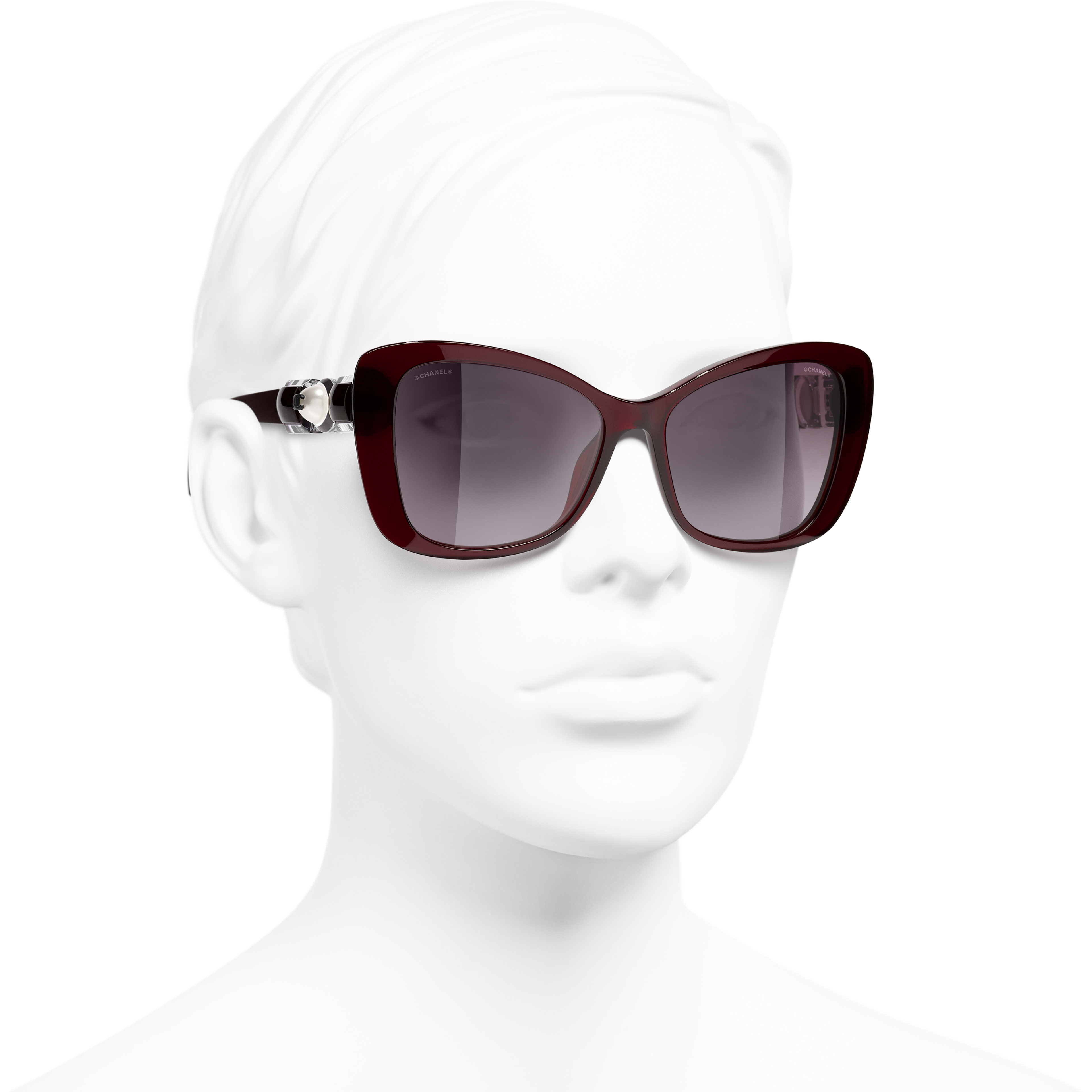 Butterfly Sunglasses - Dark Red - Acetate & Glass Pearls - CHANEL - Worn 3/4 view - see standard sized version