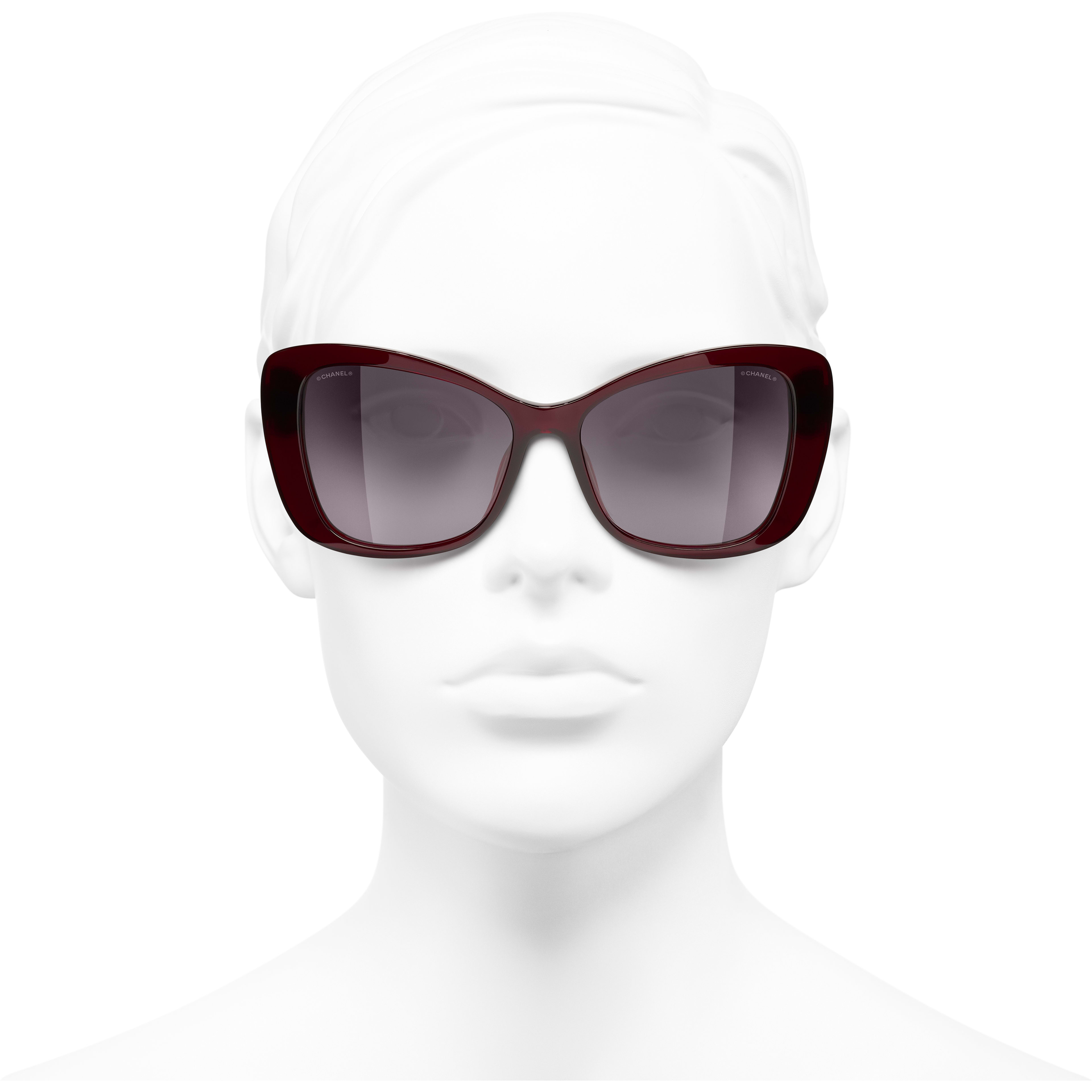 Butterfly Sunglasses - Dark Red - Acetate & Glass Pearls - CHANEL - Worn front view - see standard sized version