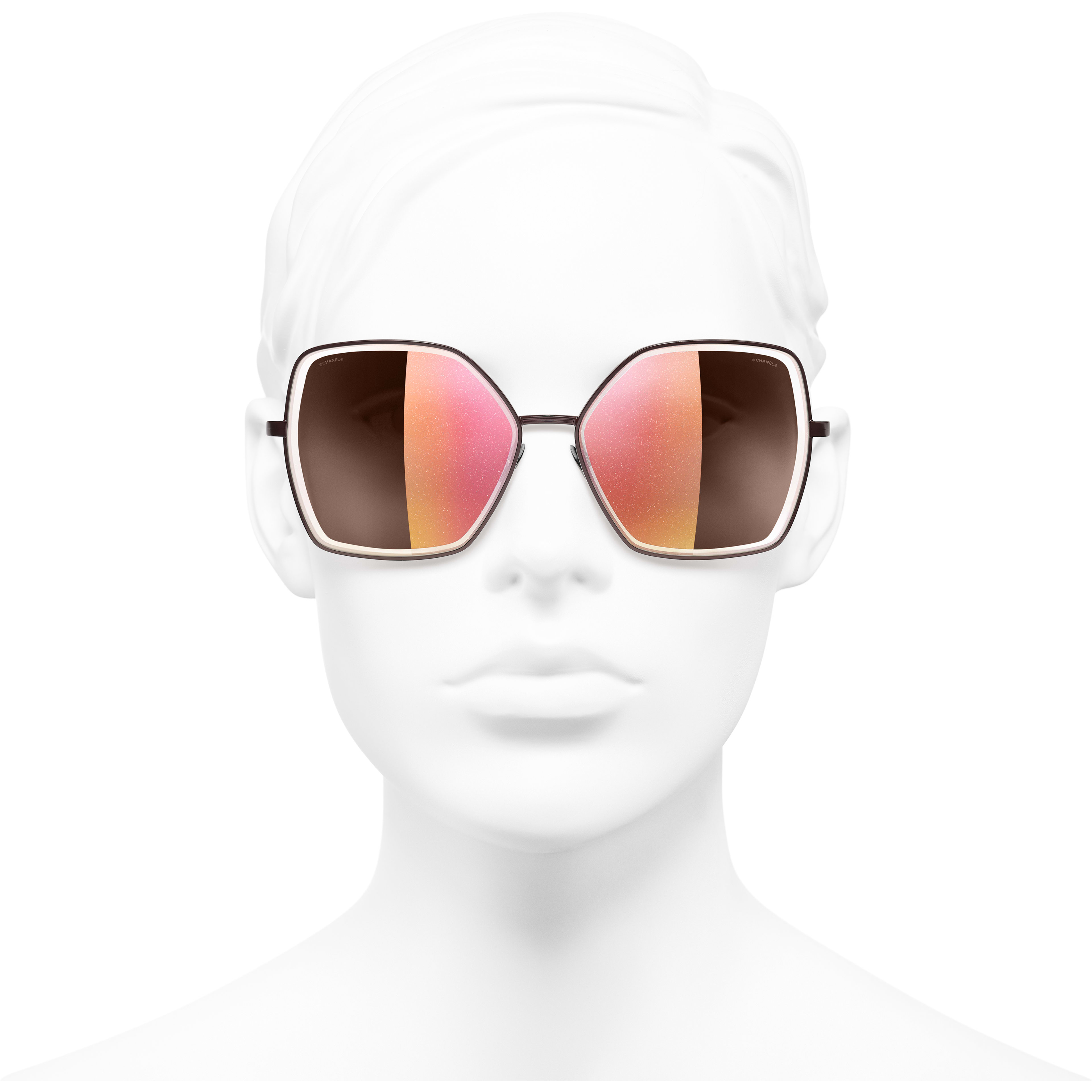 Butterfly Sunglasses - Dark Red - Metal - CHANEL - Worn front view - see standard sized version