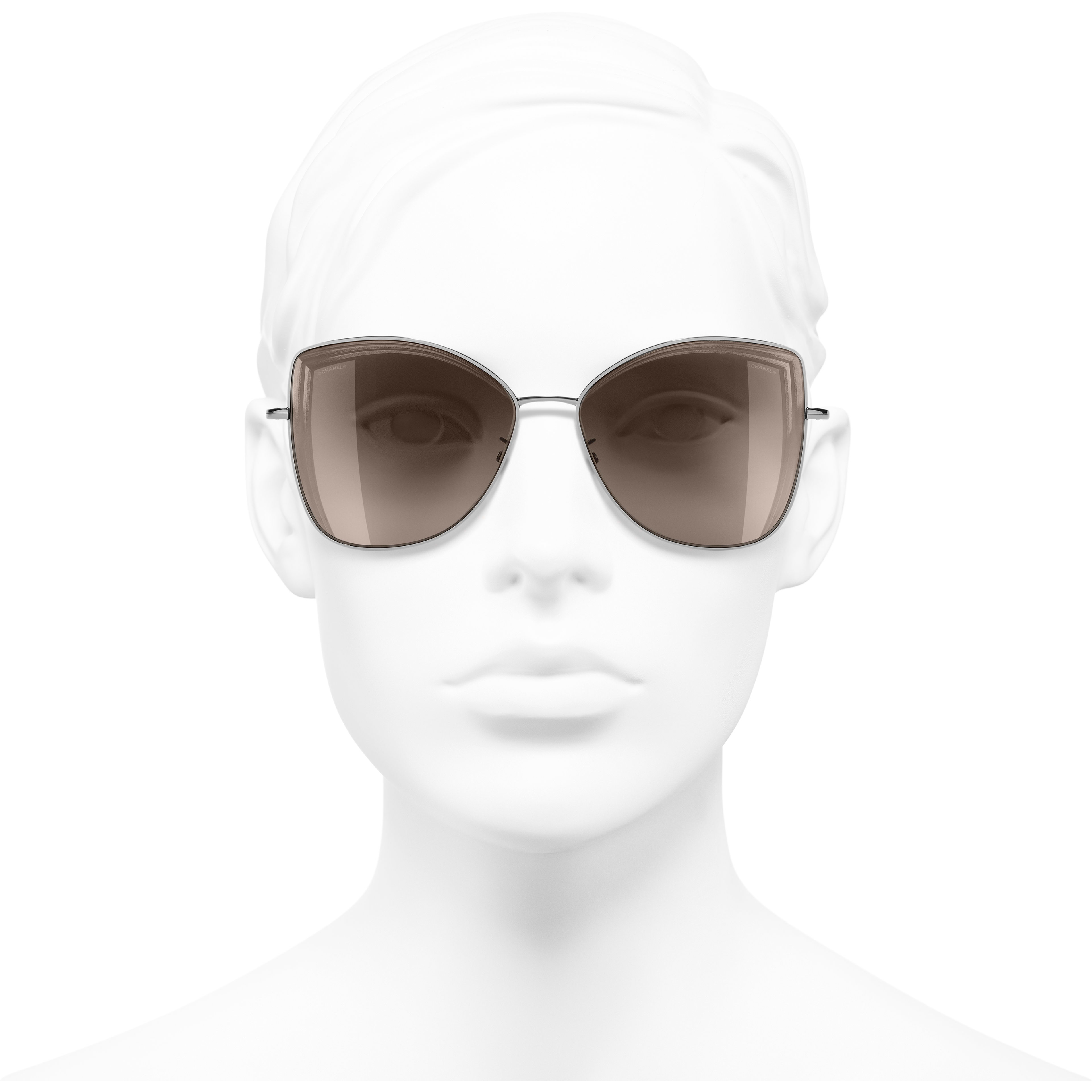 Butterfly Sunglasses - Dark Silver - Metal - Worn front view - see standard sized version