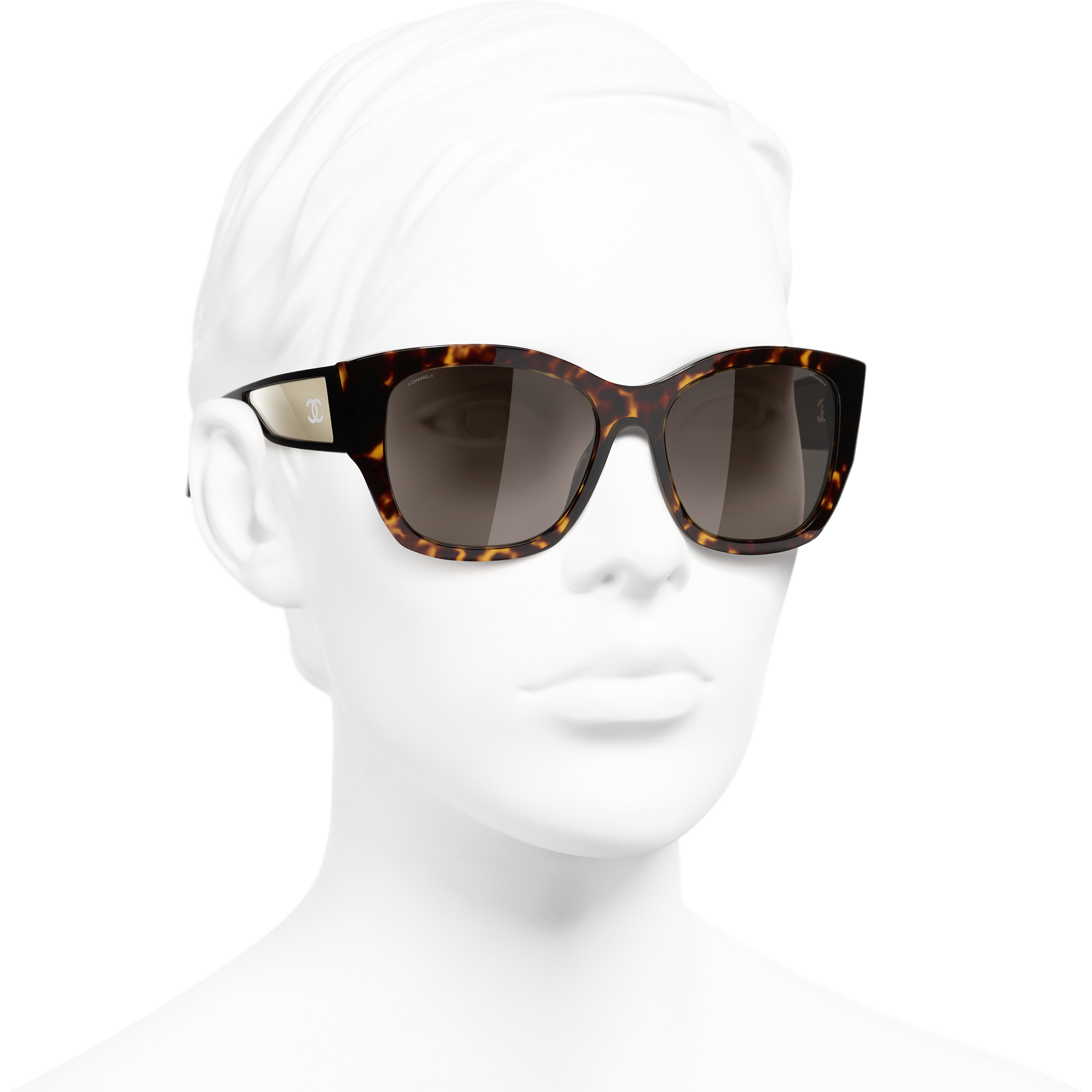 Butterfly Sunglasses - Dark Tortoise & 18-Carat White Gold - Acetate - CHANEL - Worn 3/4 view - see standard sized version