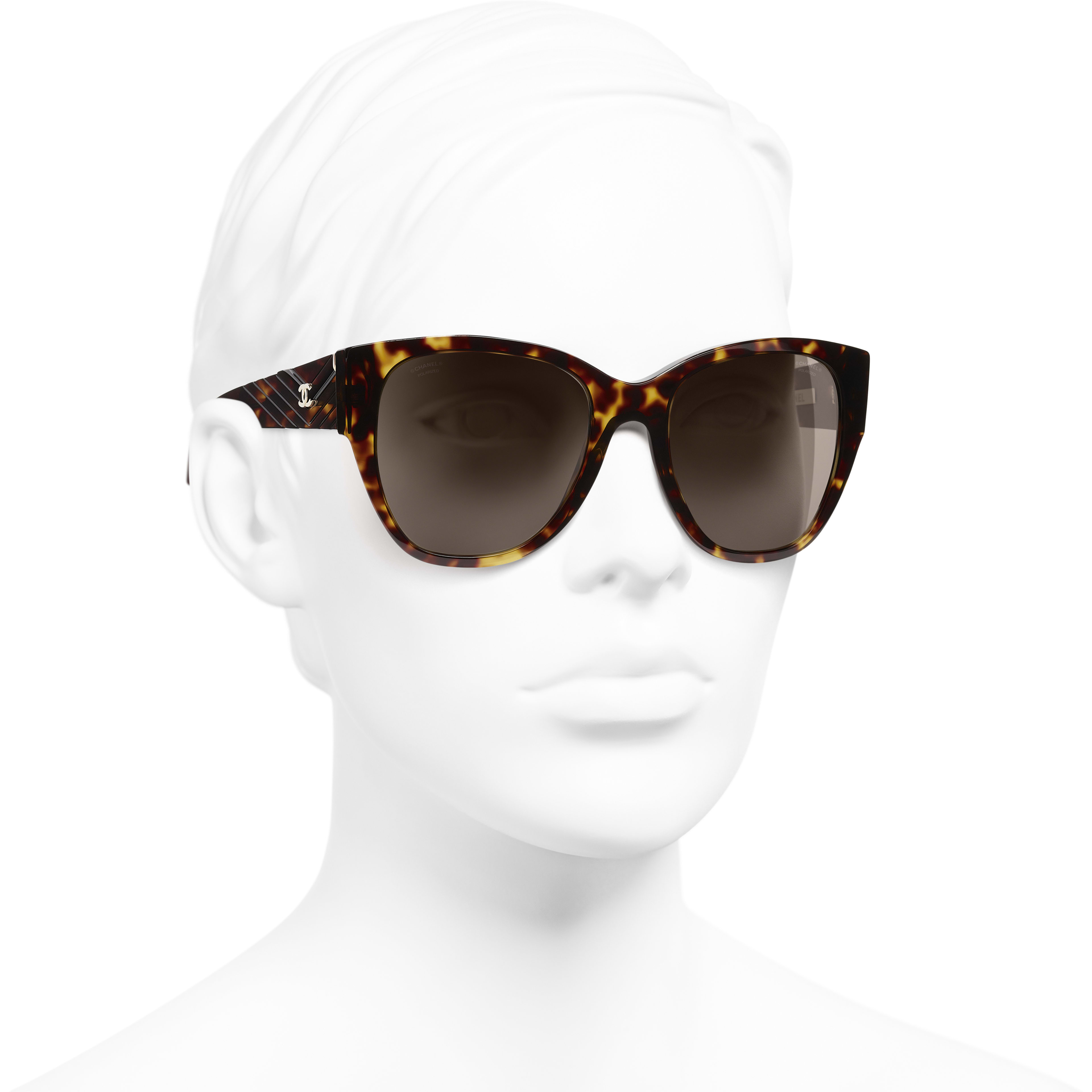 Butterfly Sunglasses - Dark Tortoise - Acetate - Worn 3/4 view - see standard sized version