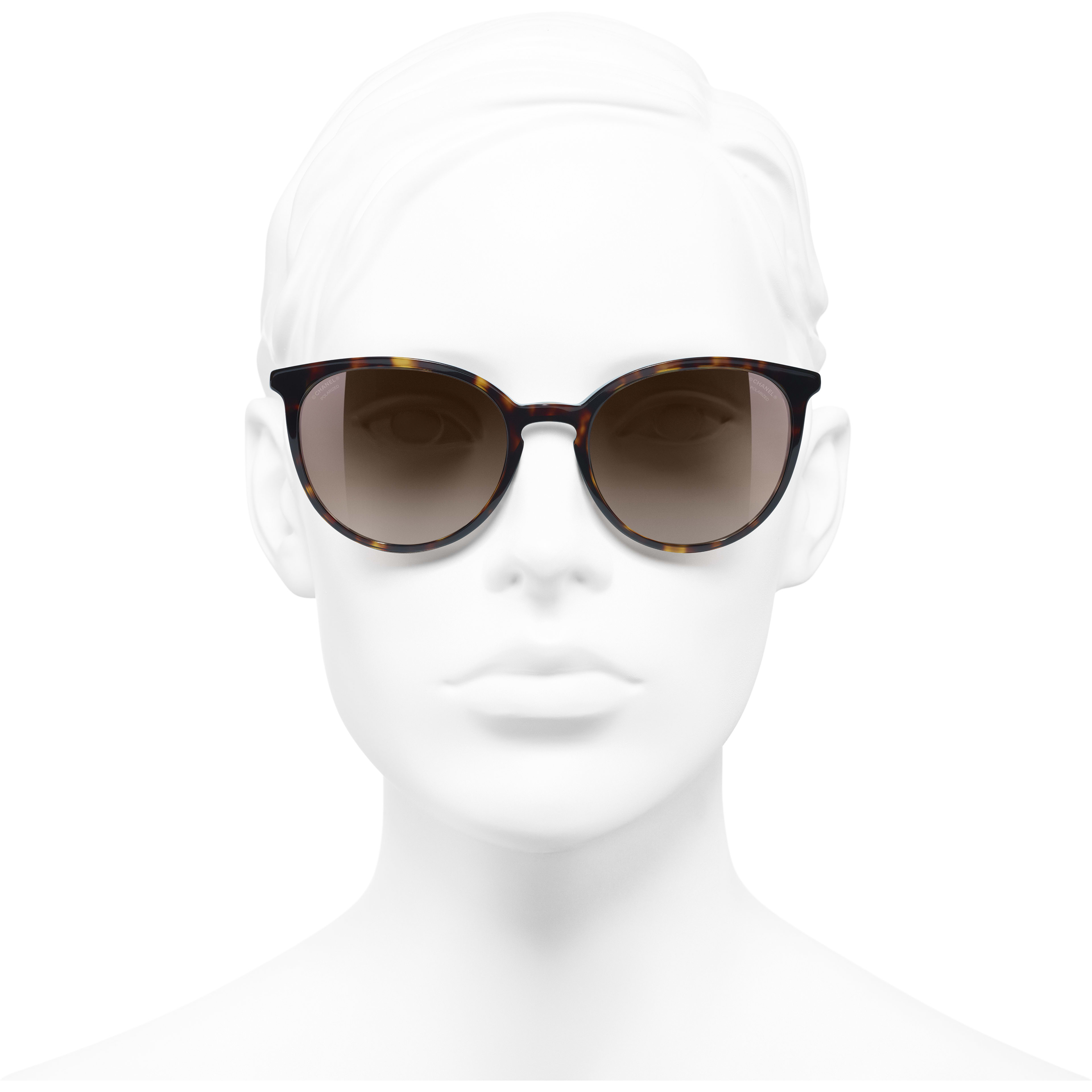 Butterfly Sunglasses - Dark Tortoise - Acetate & Imitation Pearls - Polarized Lenses - Worn front view - see standard sized version