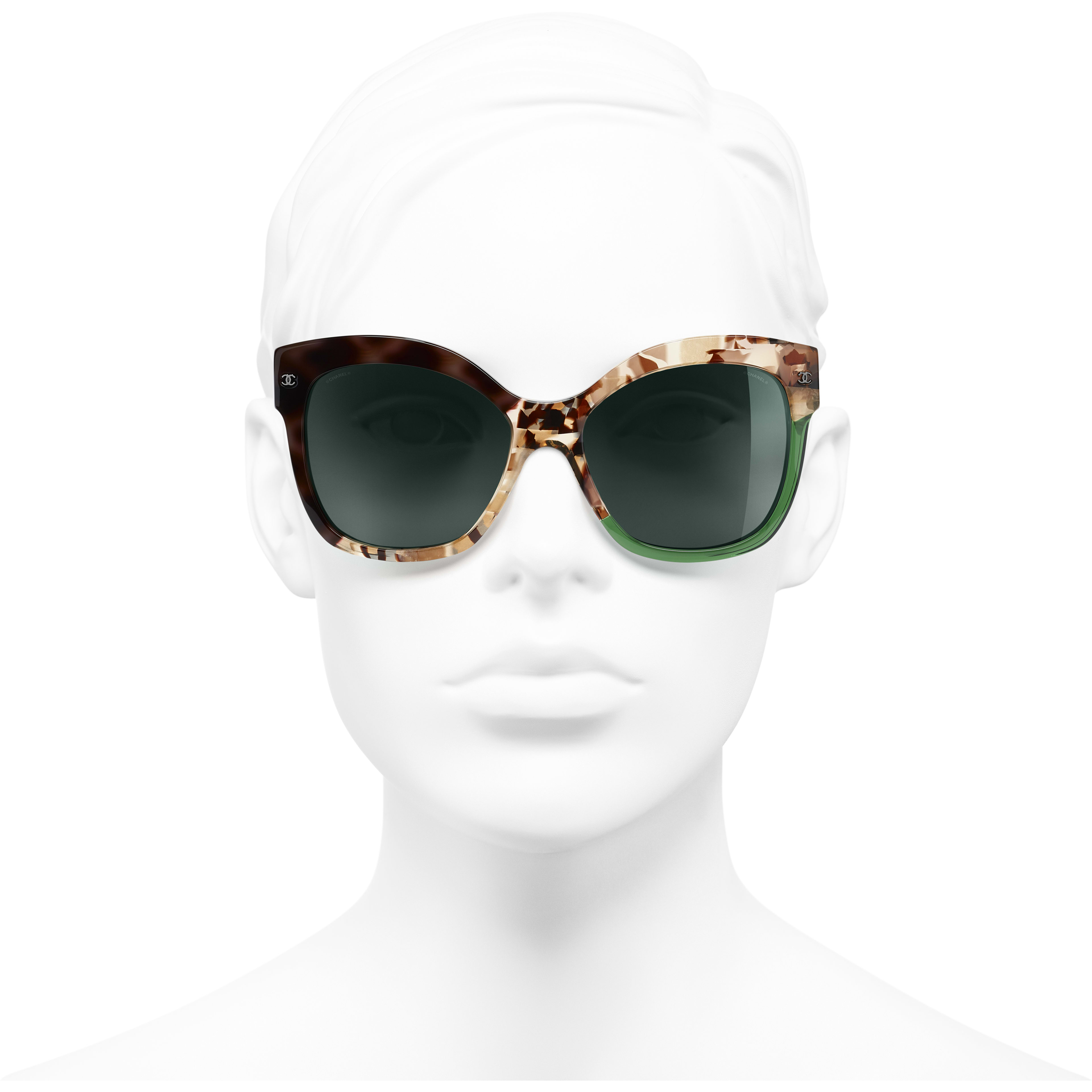 Butterfly Sunglasses - Dark Tortoise & Green - Acetate - CHANEL - Worn front view - see standard sized version