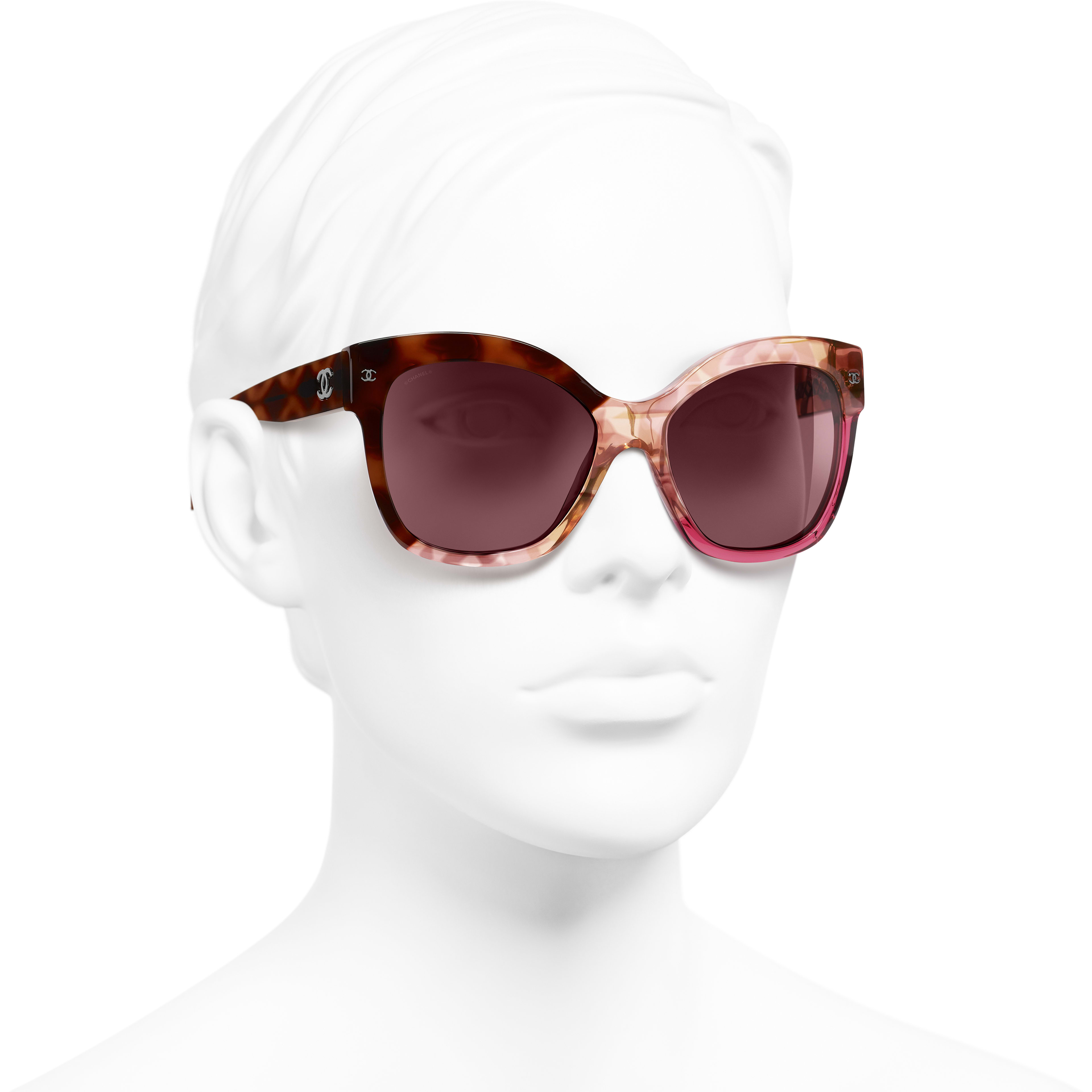 Butterfly Sunglasses - Dark Tortoise & Pink - Acetate - Worn 3/4 view - see standard sized version
