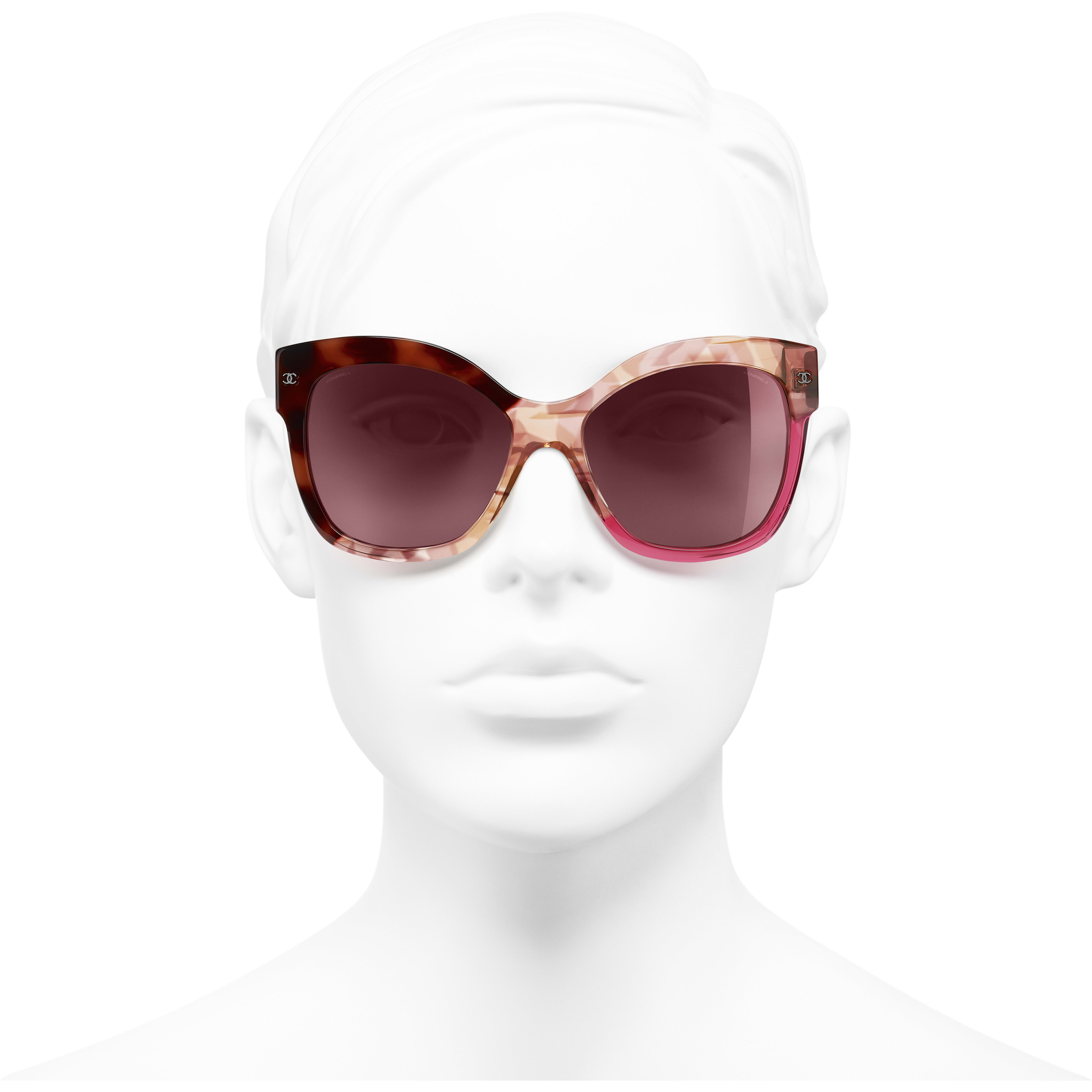 Butterfly Sunglasses - Dark Tortoise & Pink - Acetate - Worn front view - see standard sized version