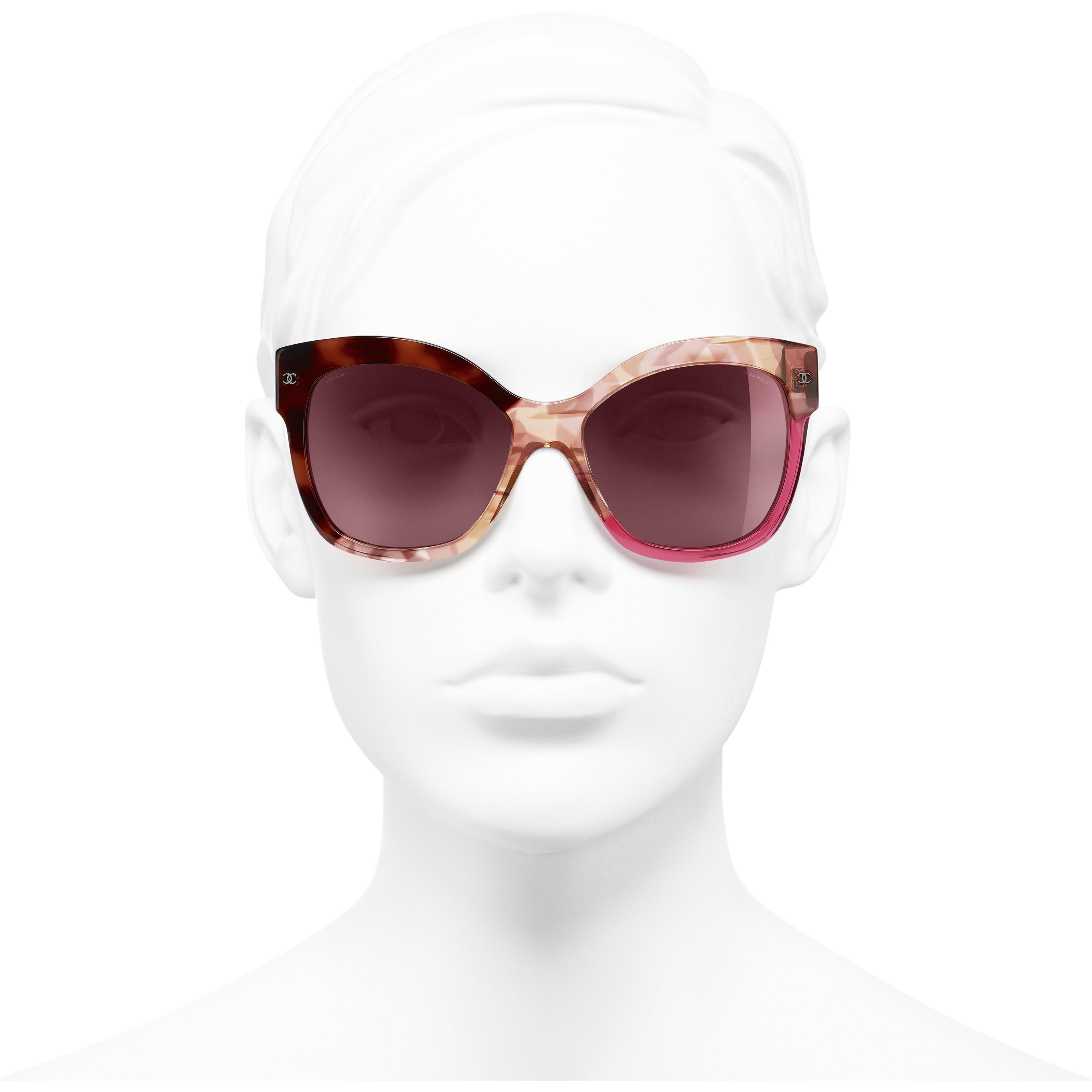 Okulary przeciwsłoneczne motyle - Kolor ciemnoszylkretowy i różowy - Acetat - Widok od przodu – zobacz w standardowym rozmiarze