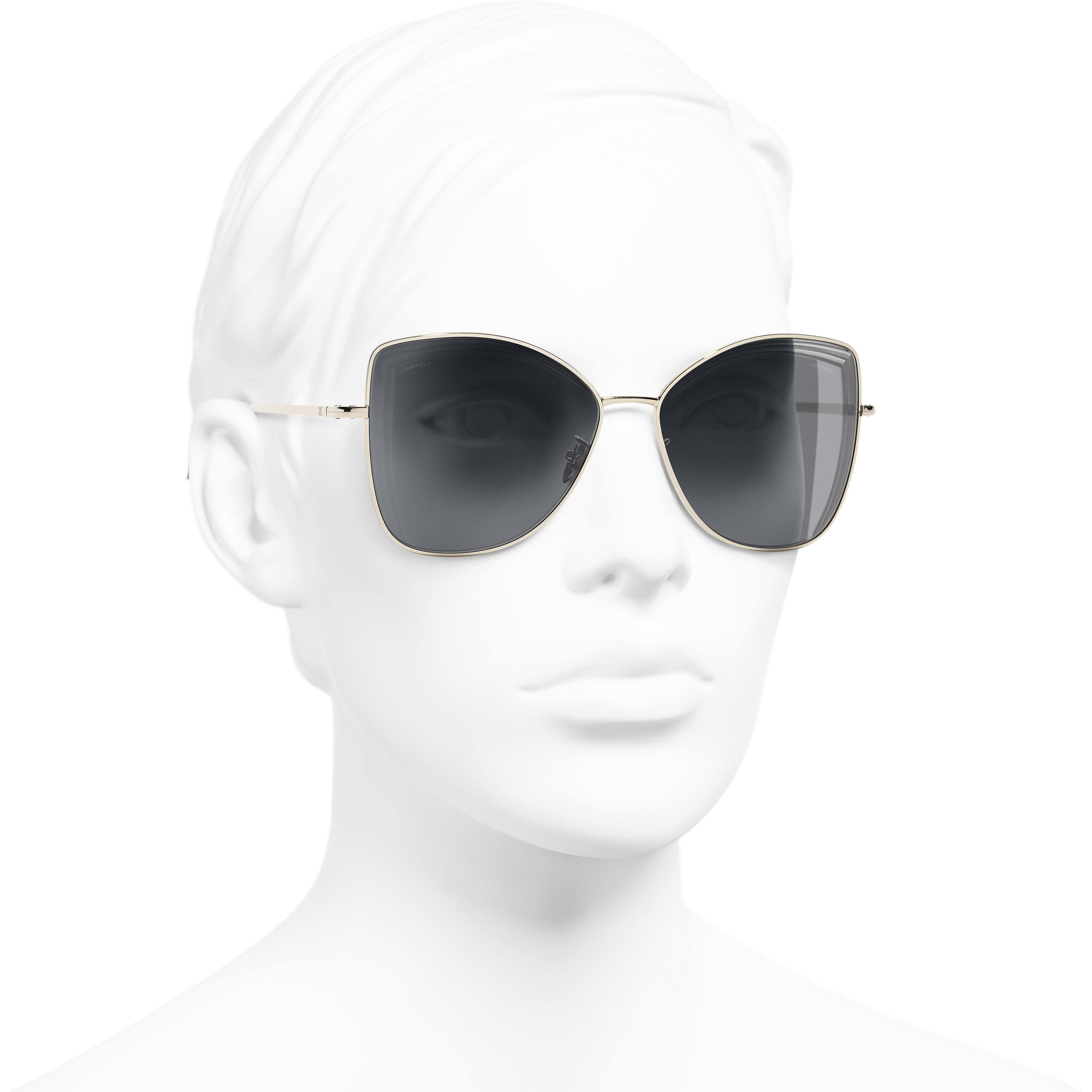 Butterfly Sunglasses - Gold - Metal - Worn 3/4 view - see standard sized version