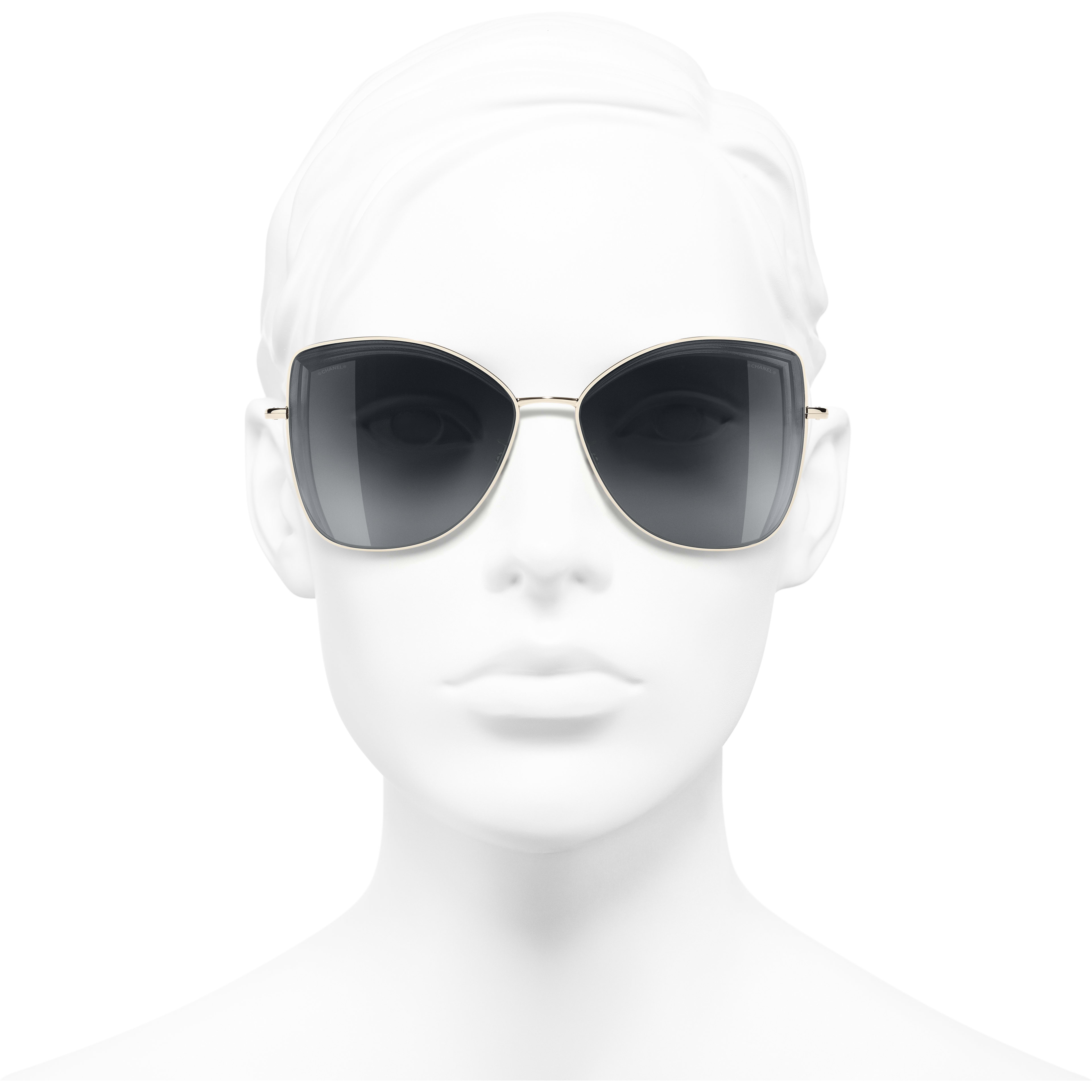 Butterfly Sunglasses - Gold - Metal - Worn front view - see standard sized version