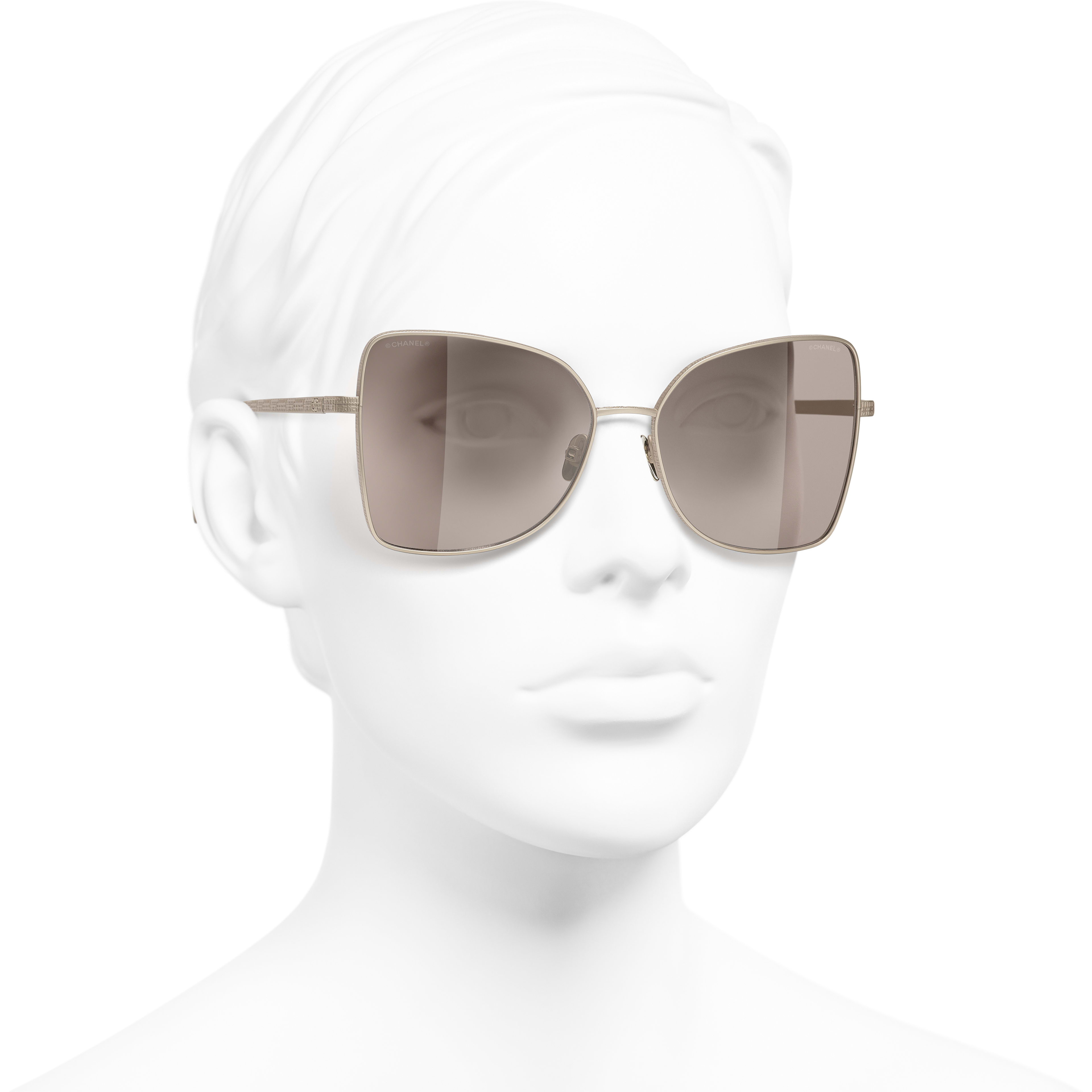 Butterfly Sunglasses - Gold - Titanium - CHANEL - Worn 3/4 view - see standard sized version