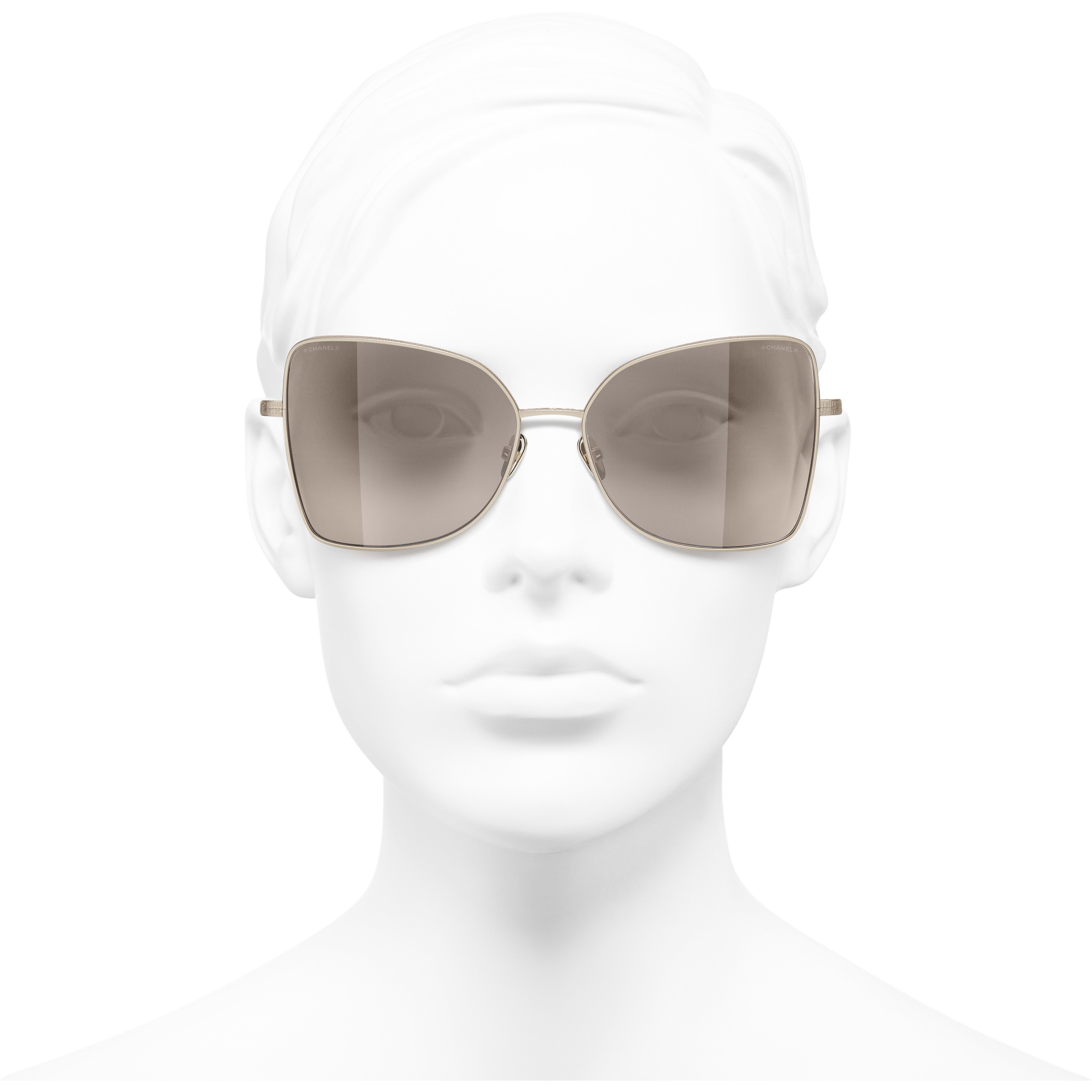 Butterfly Sunglasses - Gold - Titanium - CHANEL - Worn front view - see standard sized version