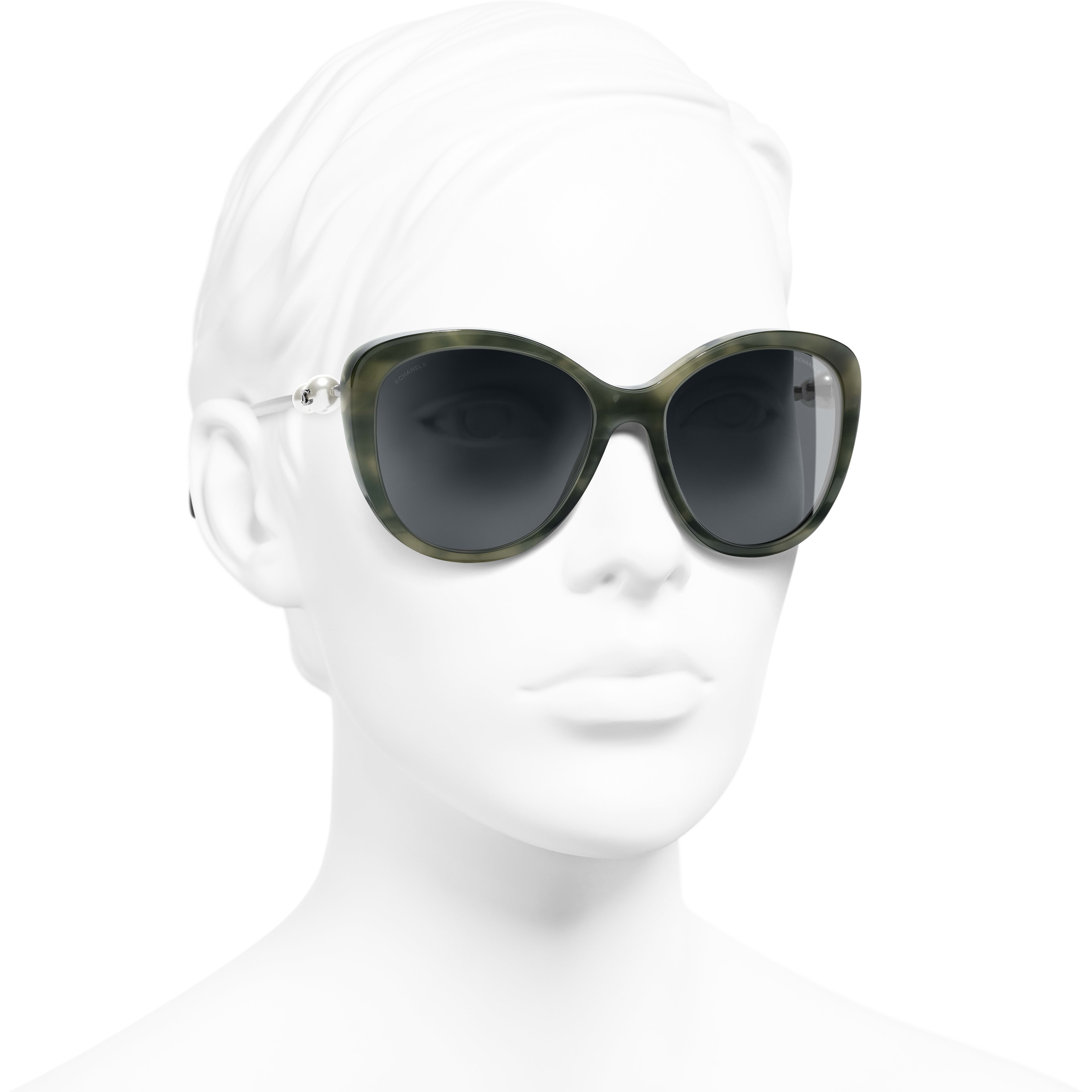 Butterfly Sunglasses - Green Tortoise - Acetate & Imitation Pearls - Worn 3/4 view - see standard sized version