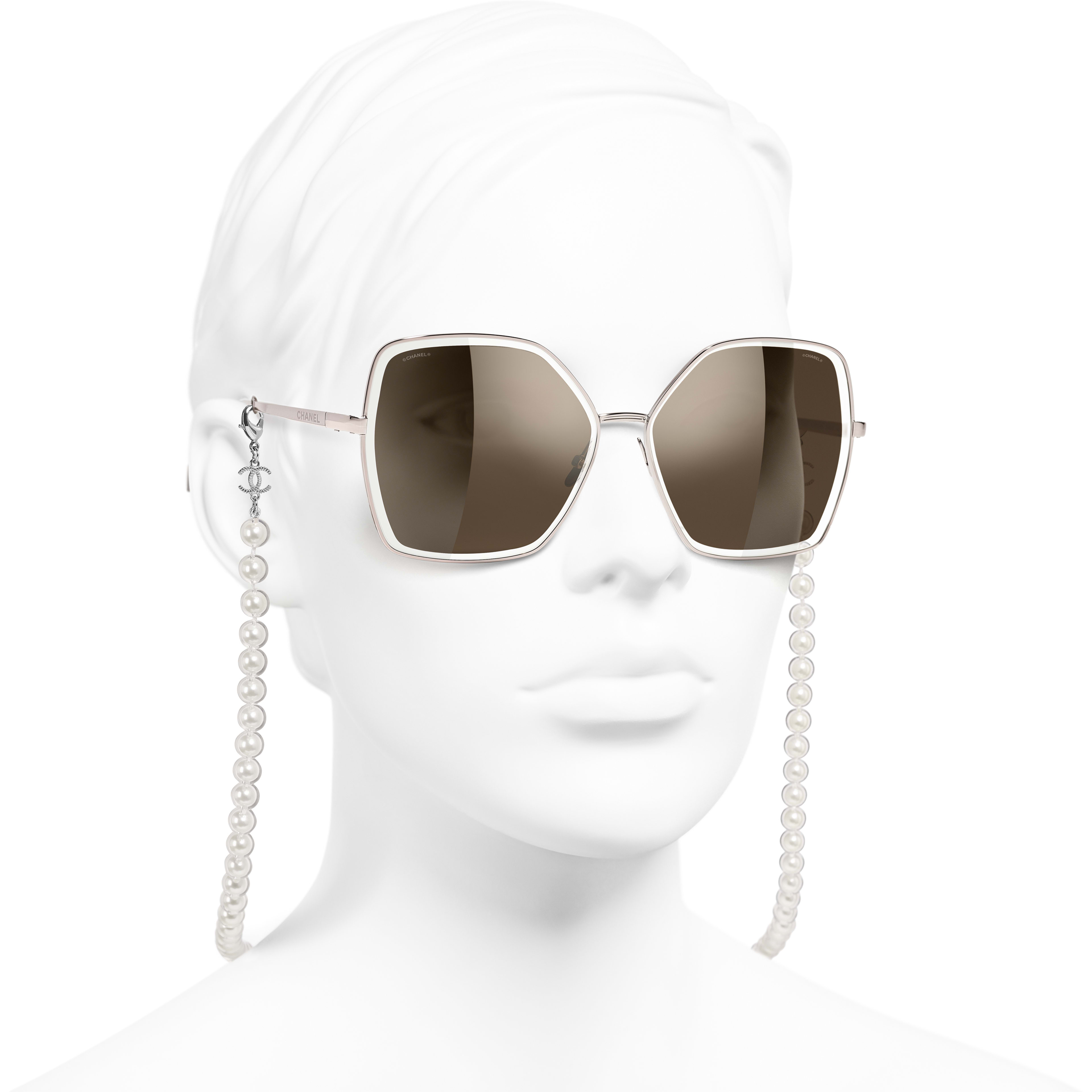 Butterfly Sunglasses - Pink - Metal, Resin & Glass Pearls - CHANEL - Worn 3/4 view - see standard sized version