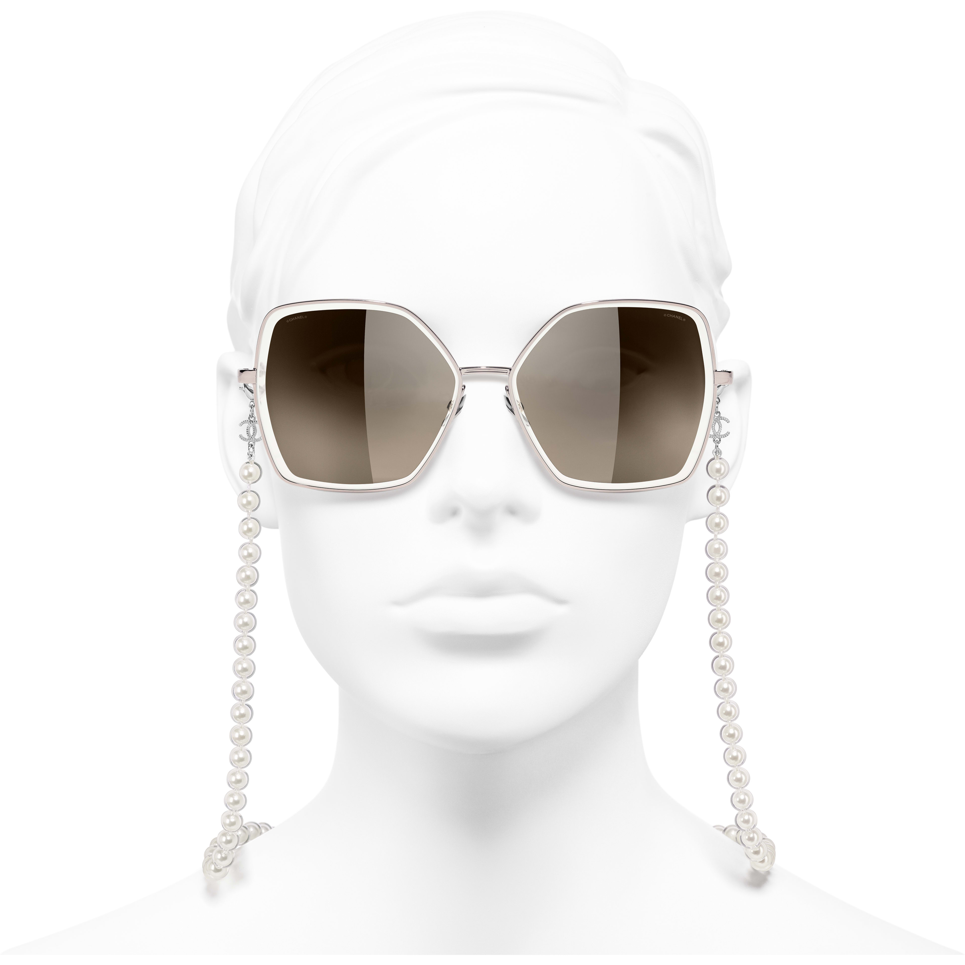 Butterfly Sunglasses - Pink - Metal, Resin & Glass Pearls - CHANEL - Worn front view - see standard sized version