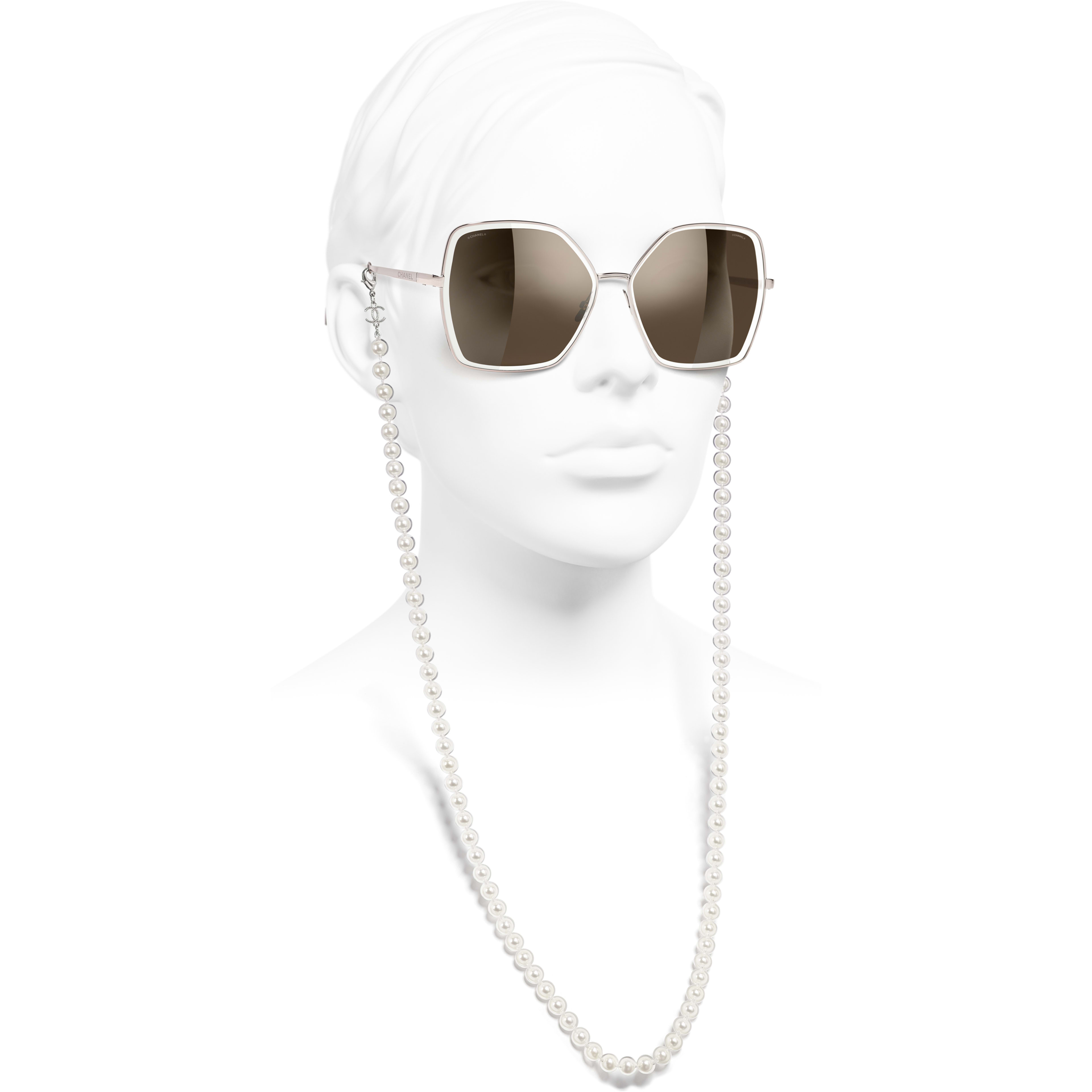 Butterfly Sunglasses - Pink - Metal, Resin & Glass Pearls - CHANEL - Worn side view - see standard sized version