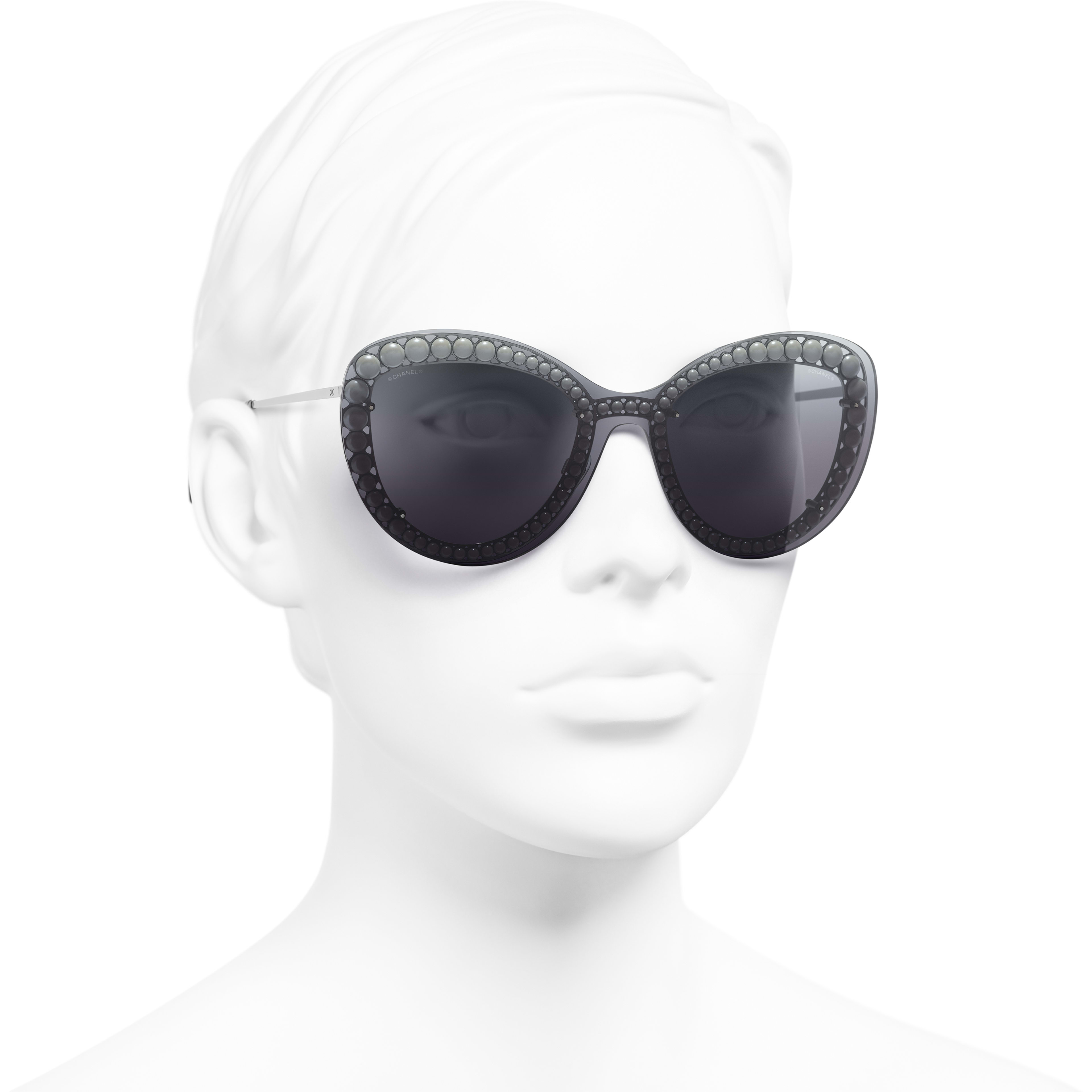 Butterfly Sunglasses - Silver - Metal & Imitation Pearls - Worn 3/4 view - see standard sized version