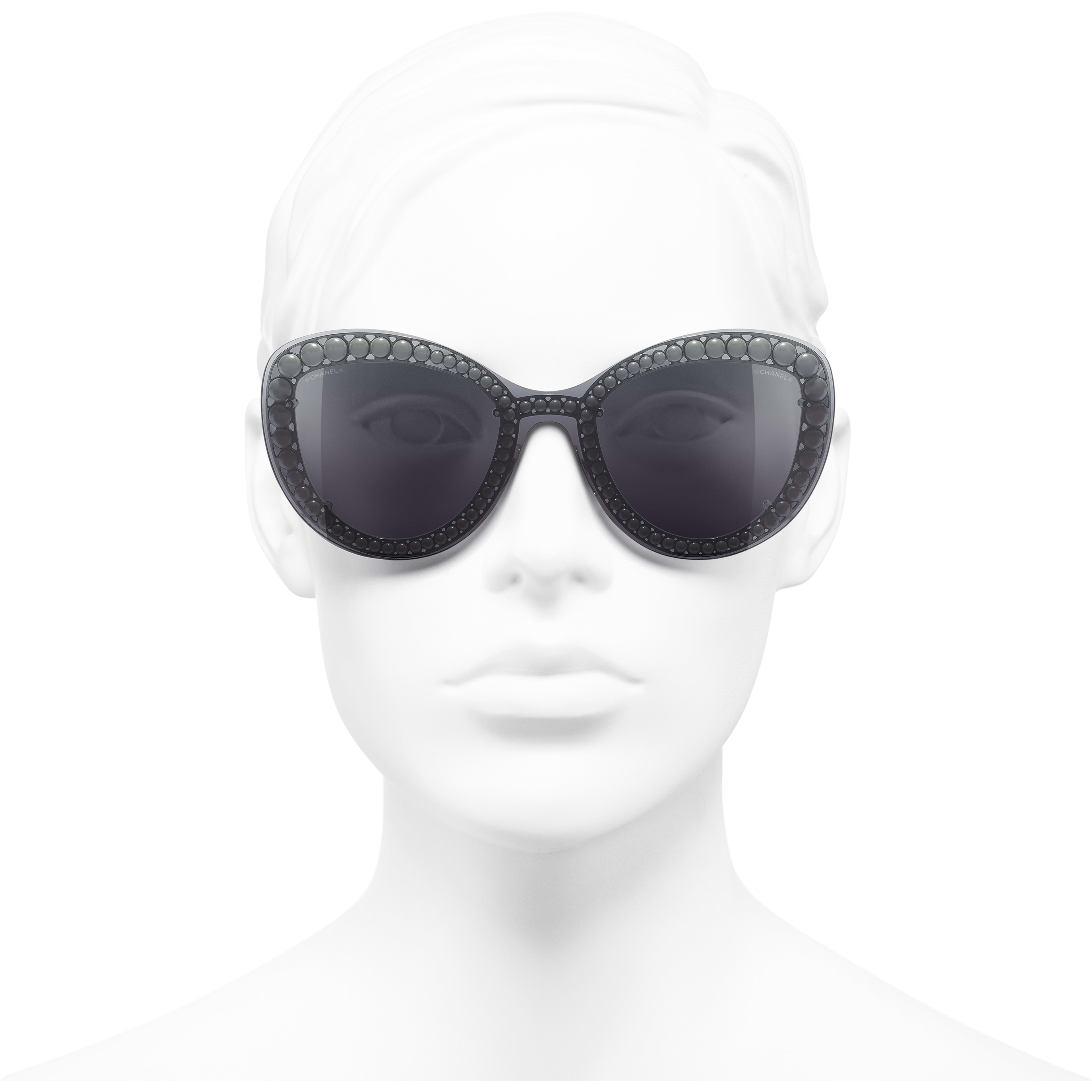 Butterfly Sunglasses - Silver - Metal & Imitation Pearls - Worn front view - see standard sized version