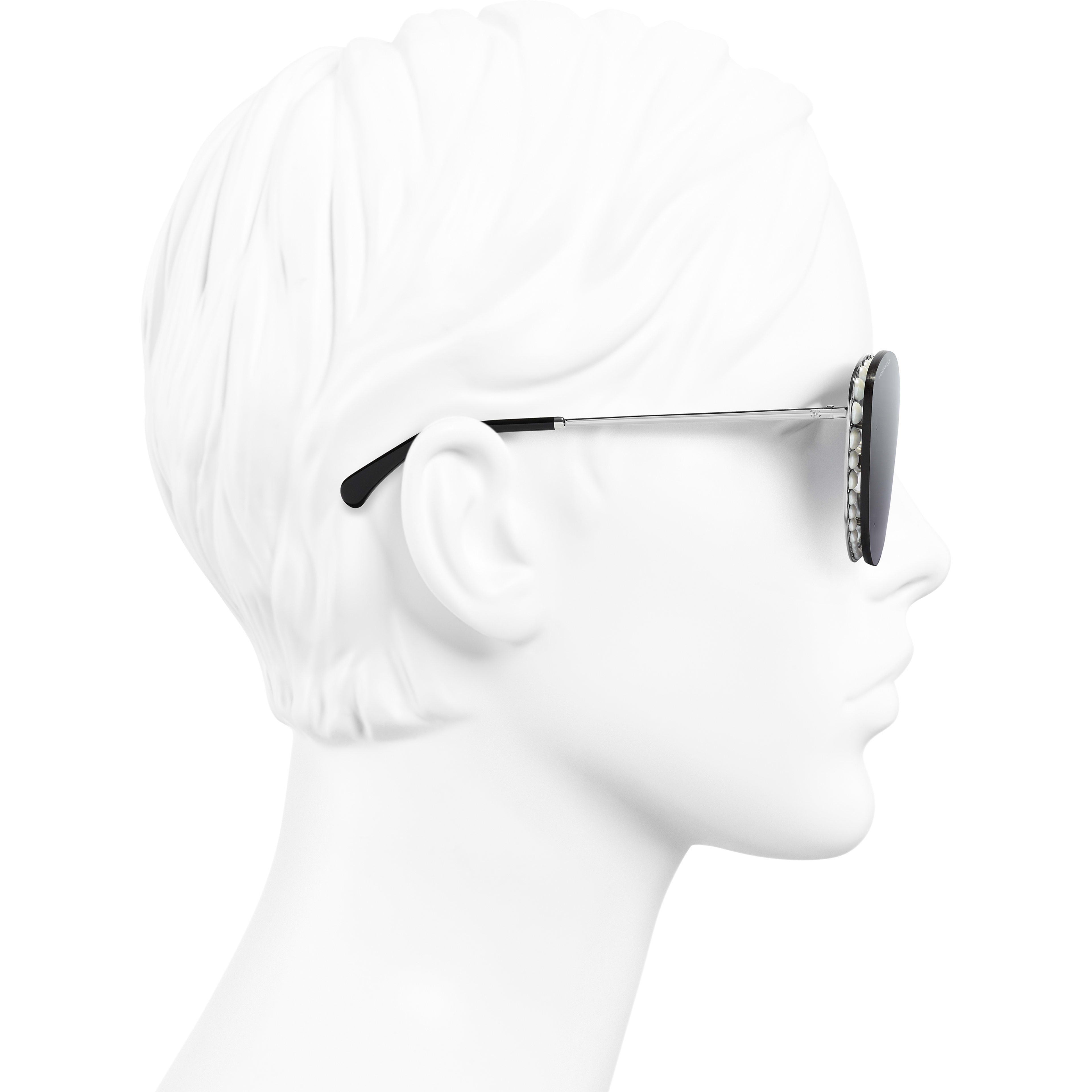 Butterfly Sunglasses - Silver - Metal & Imitation Pearls - Worn side view - see standard sized version