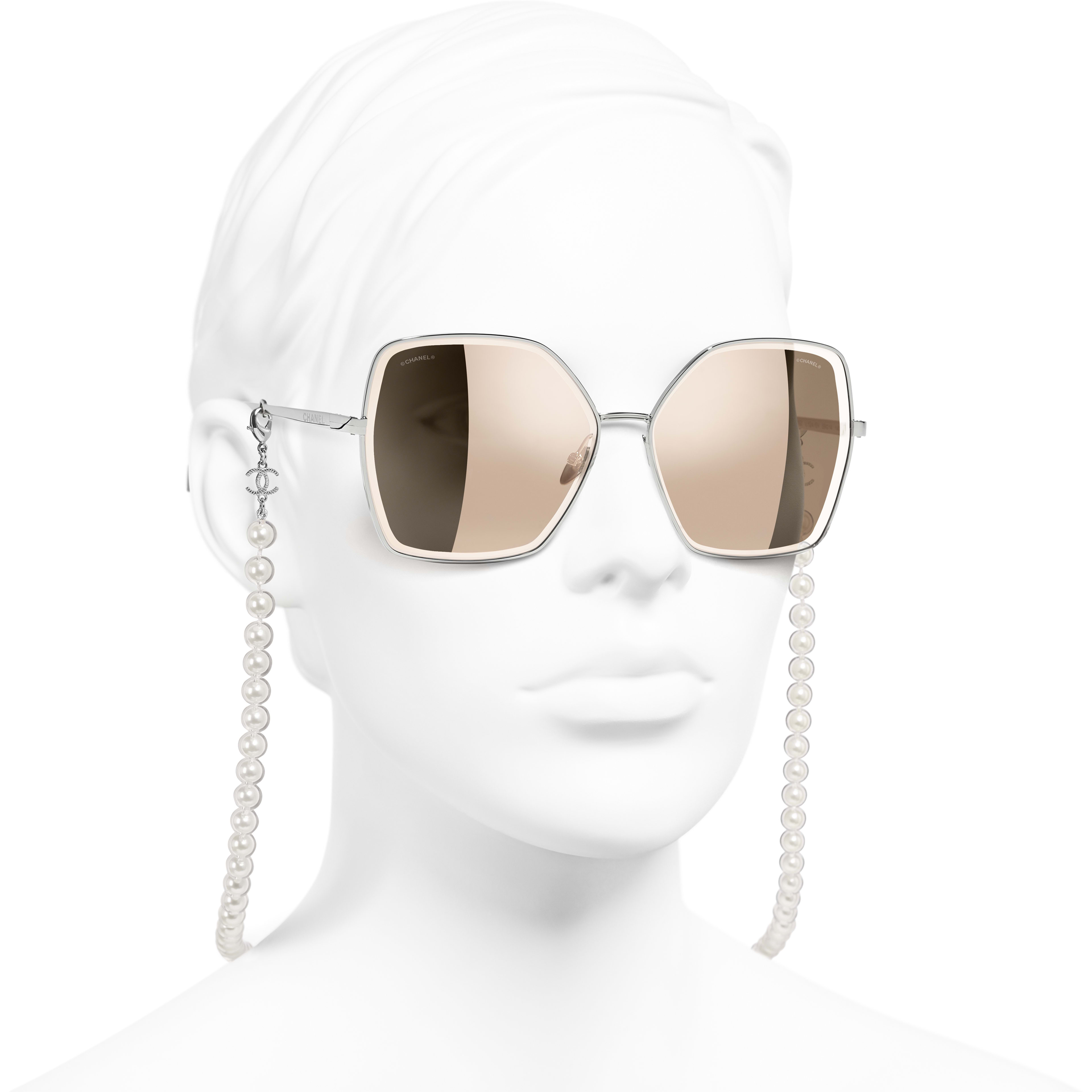Butterfly Sunglasses - Silver - Metal, Resin & Glass Pearls - CHANEL - Worn 3/4 view - see standard sized version