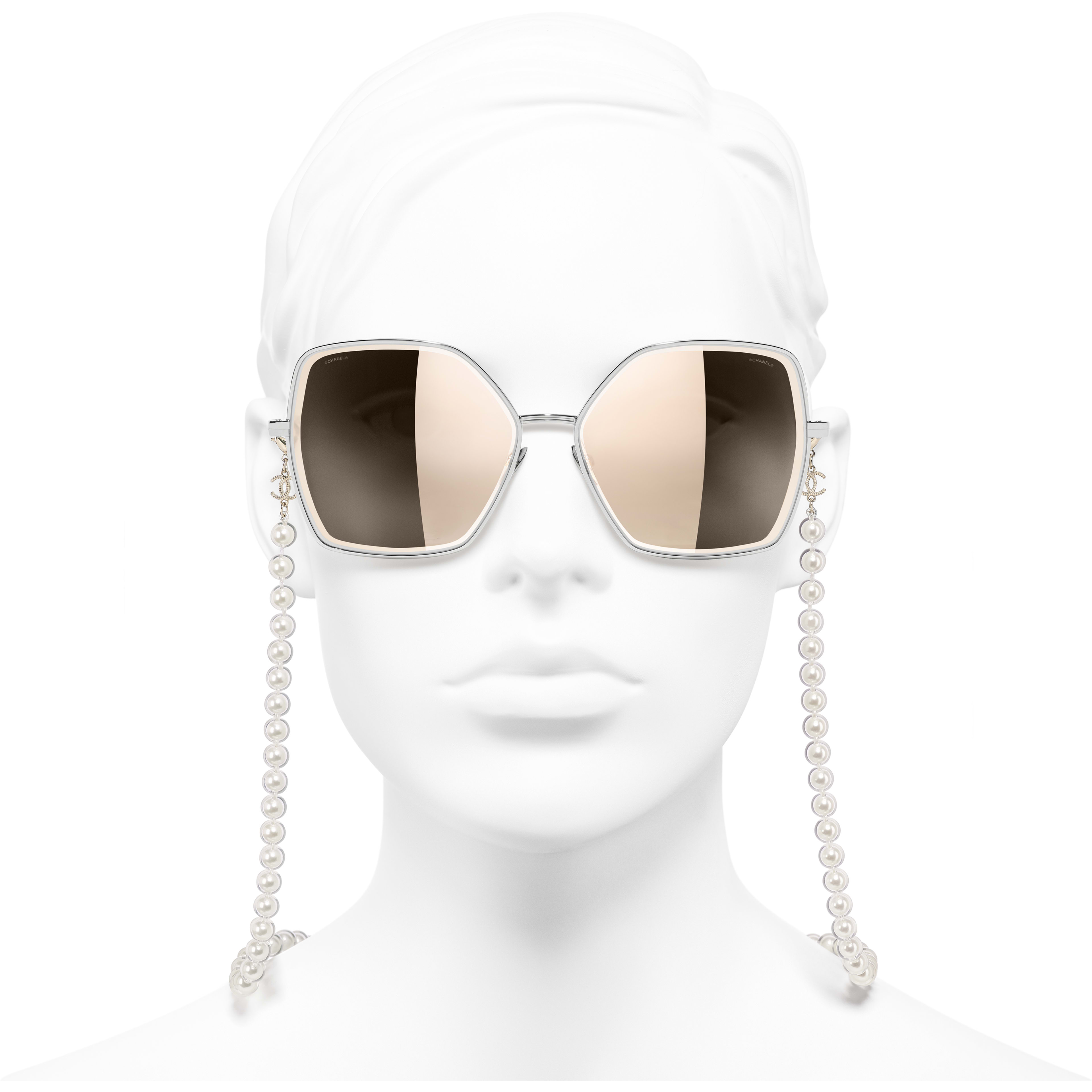Butterfly Sunglasses - Silver - Metal, Resin & Glass Pearls - CHANEL - Worn front view - see standard sized version