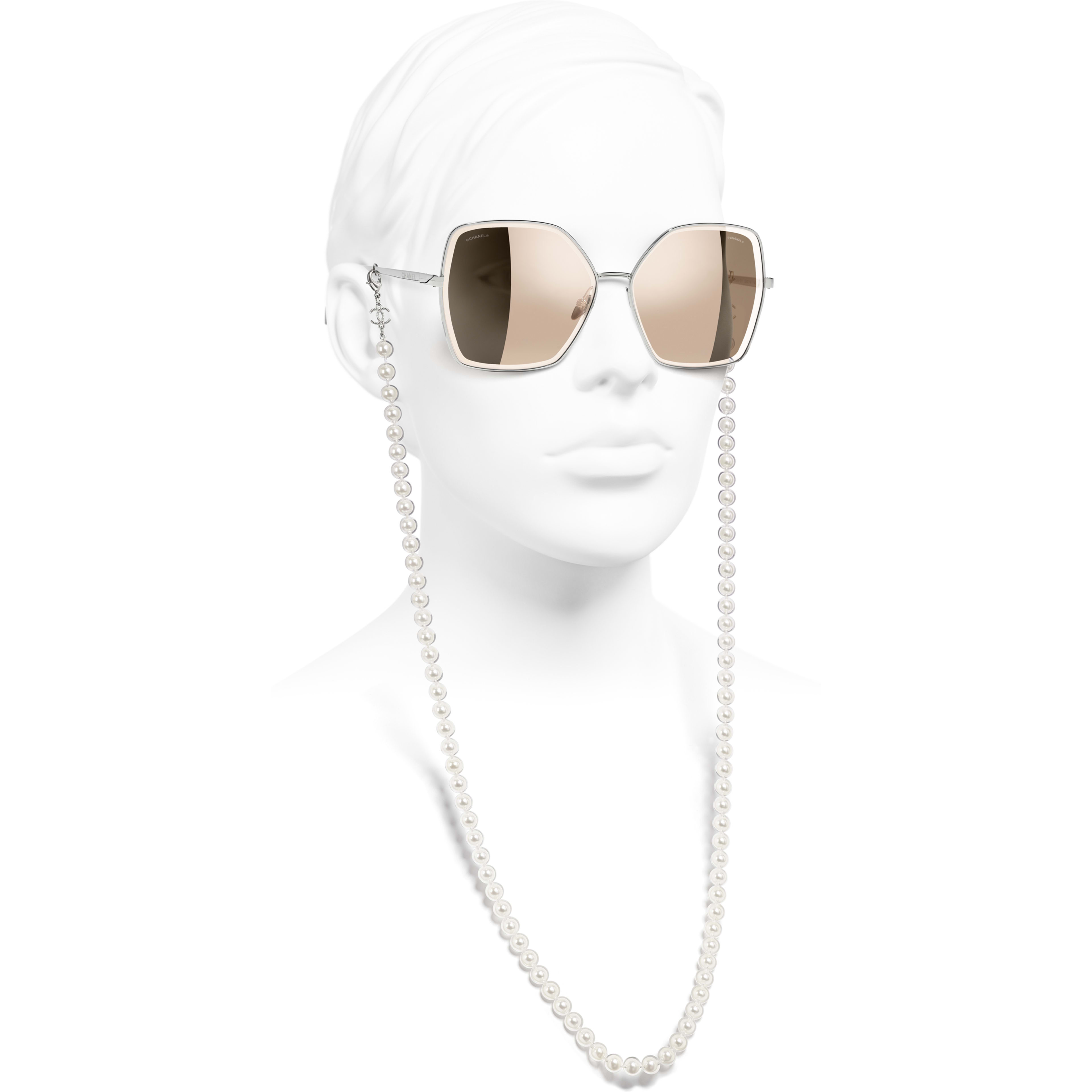 Butterfly Sunglasses - Silver - Metal, Resin & Glass Pearls - CHANEL - Worn side view - see standard sized version