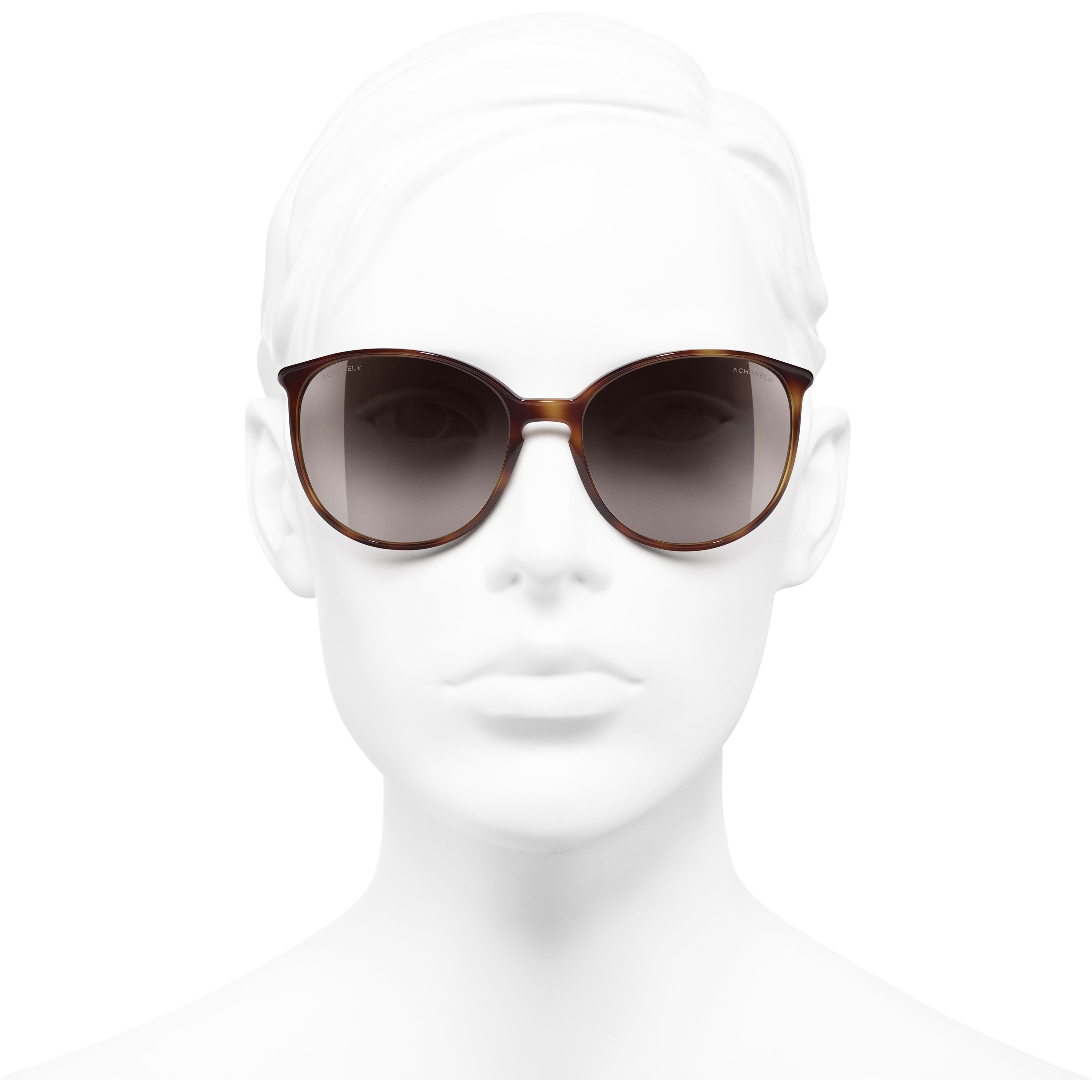 Butterfly Sunglasses - Tortoise - Acetate - CHANEL - Worn front view - see standard sized version