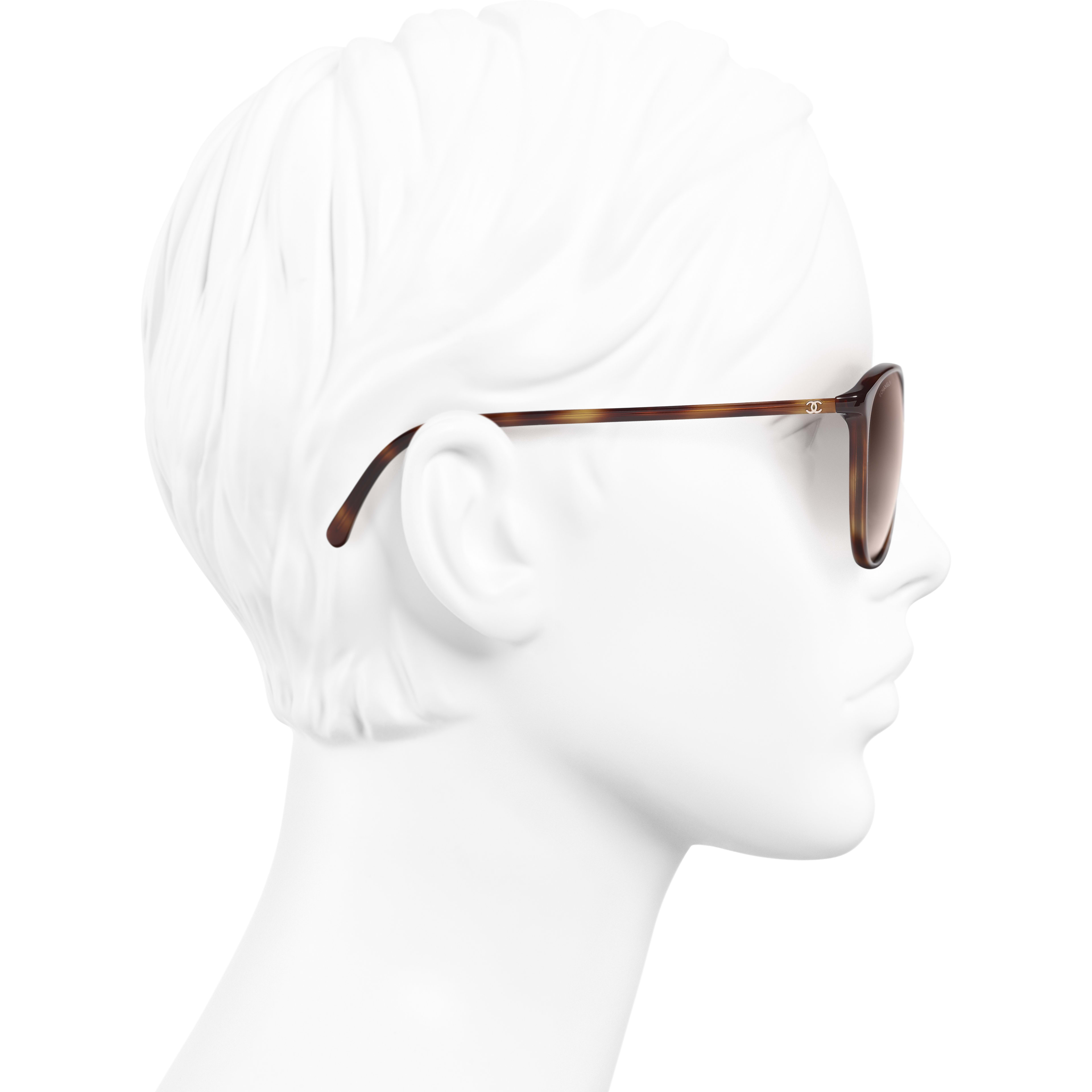 Butterfly Sunglasses - Tortoise - Acetate - CHANEL - Worn side view - see standard sized version