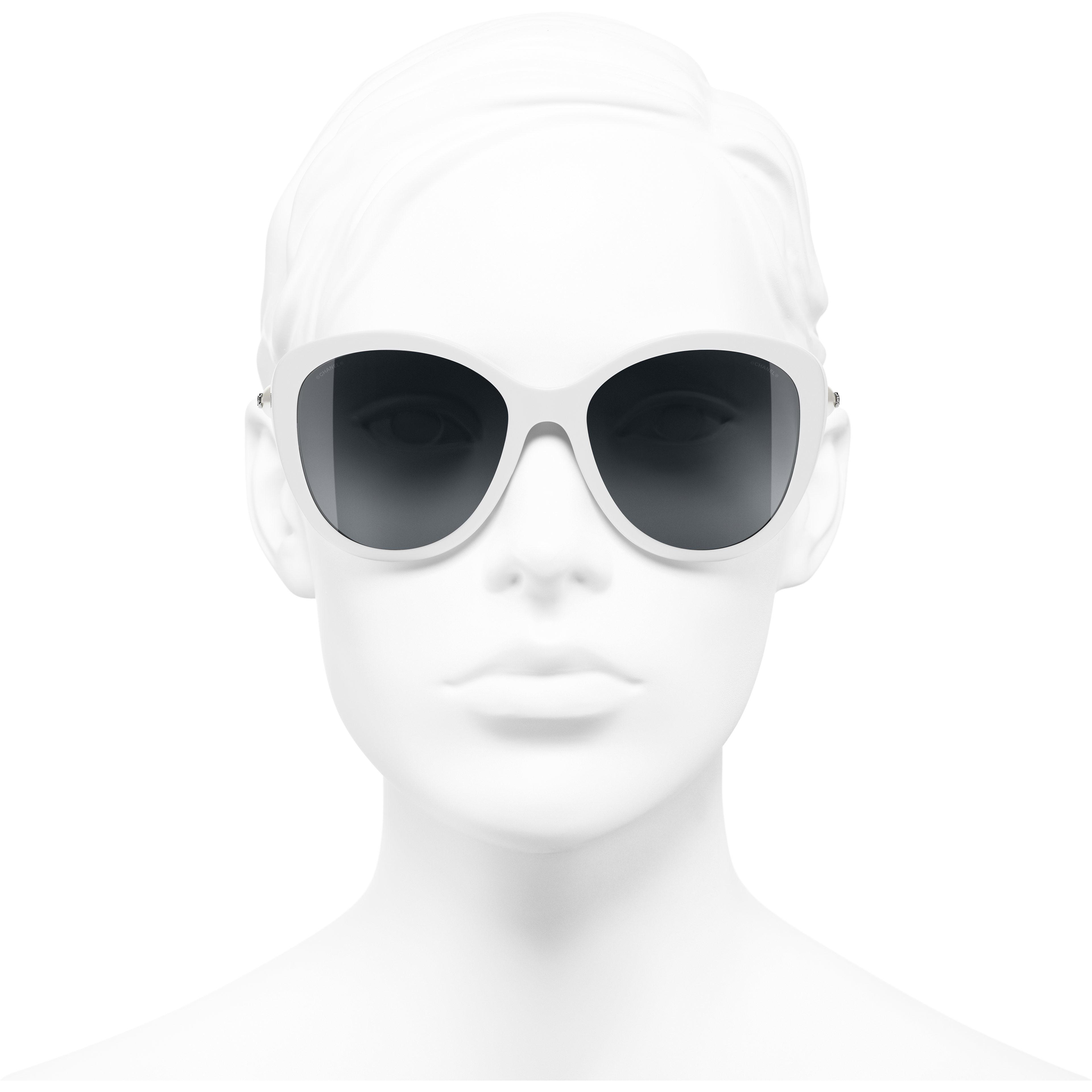 Schmetterlingsförmige Sonnenbrille - Weiß - Azetat & Modeschmuckkperlen - Vorderansicht - Standardgröße anzeigen