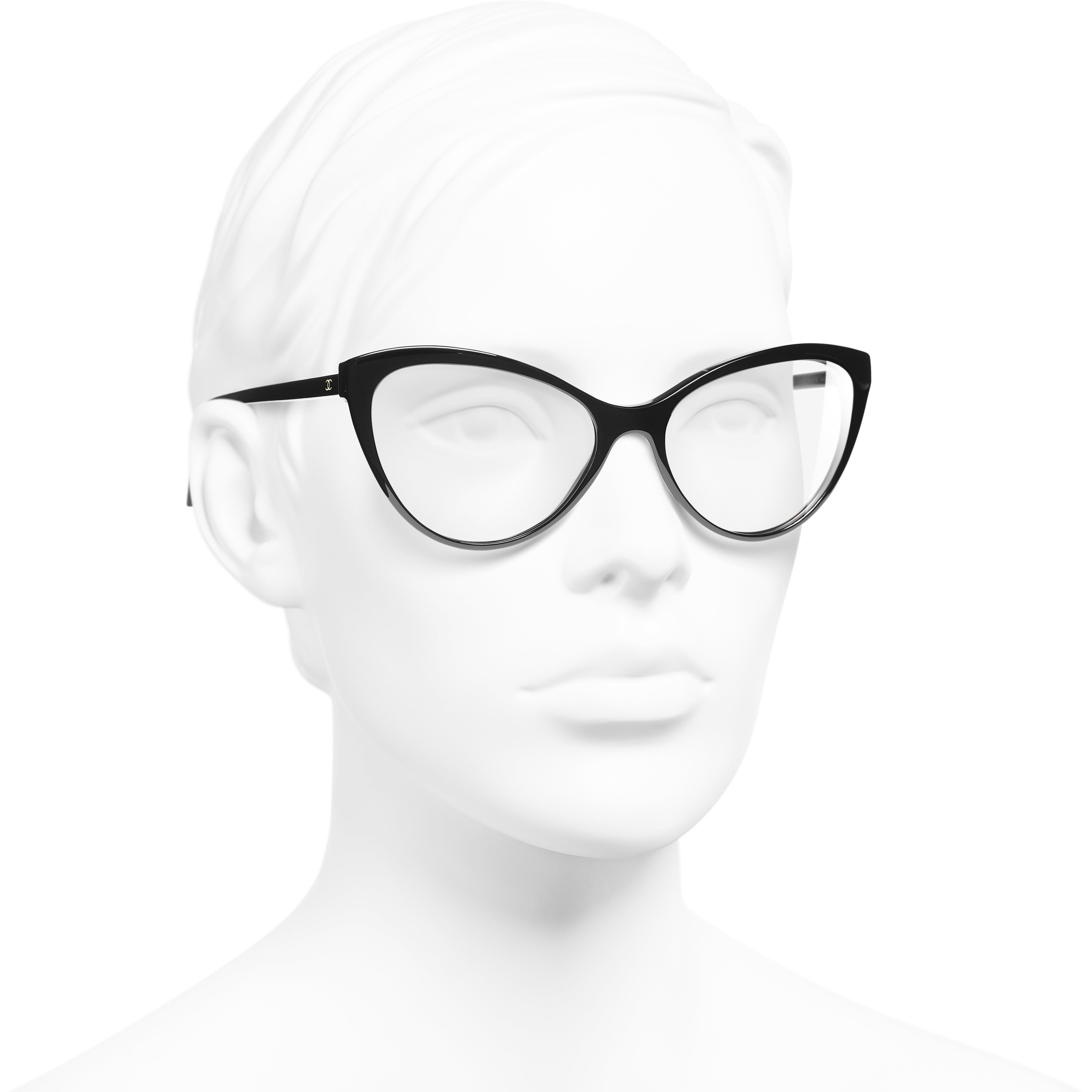 Cat Eye Eyeglasses - Black - Acetate - Worn 3/4 view - see standard sized version
