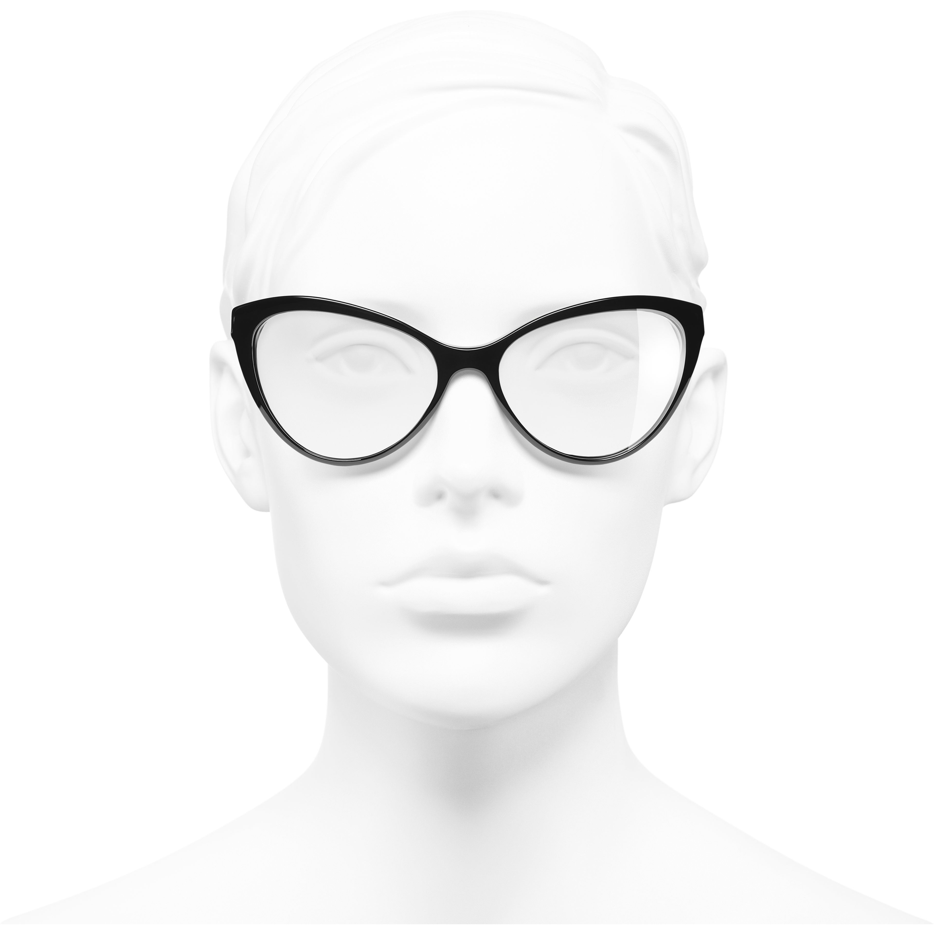 Cat Eye Eyeglasses - Black - Acetate - Worn front view - see standard sized version
