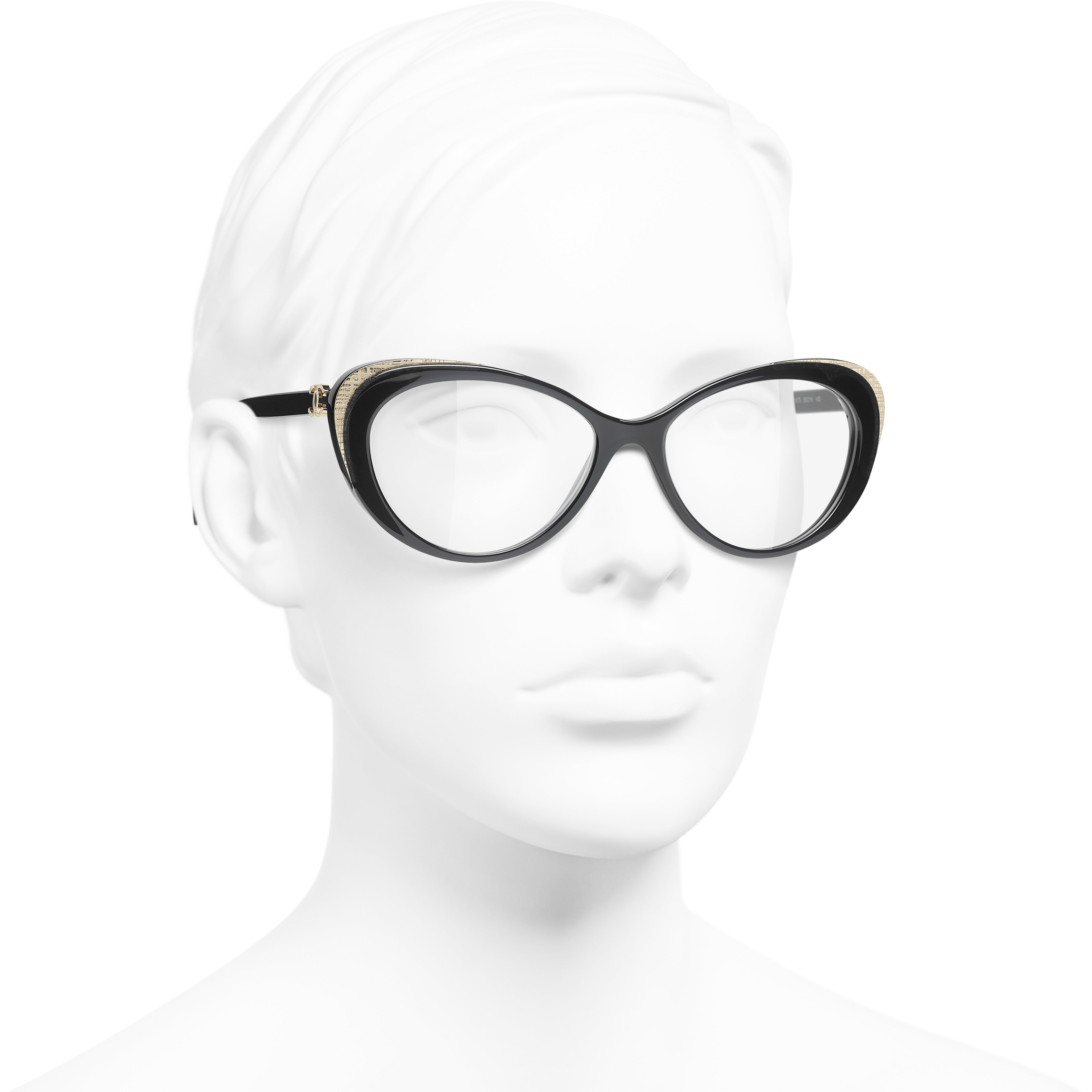 Cat Eye Eyeglasses - Black & Gold - Acetate & Metal - CHANEL - Worn 3/4 view - see standard sized version