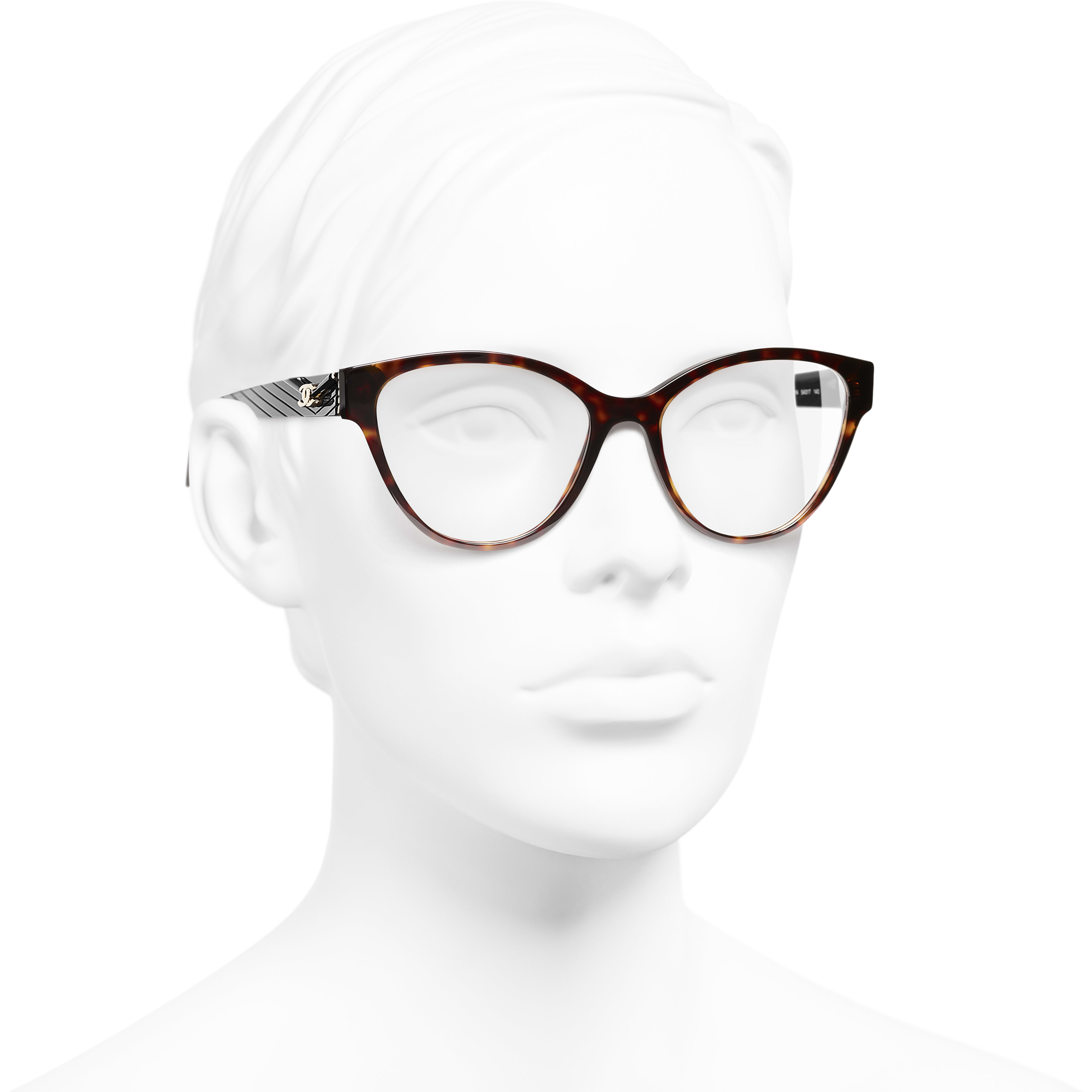 Cat Eye Eyeglasses - Dark Tortoise - Acetate - CHANEL - Worn 3/4 view - see standard sized version
