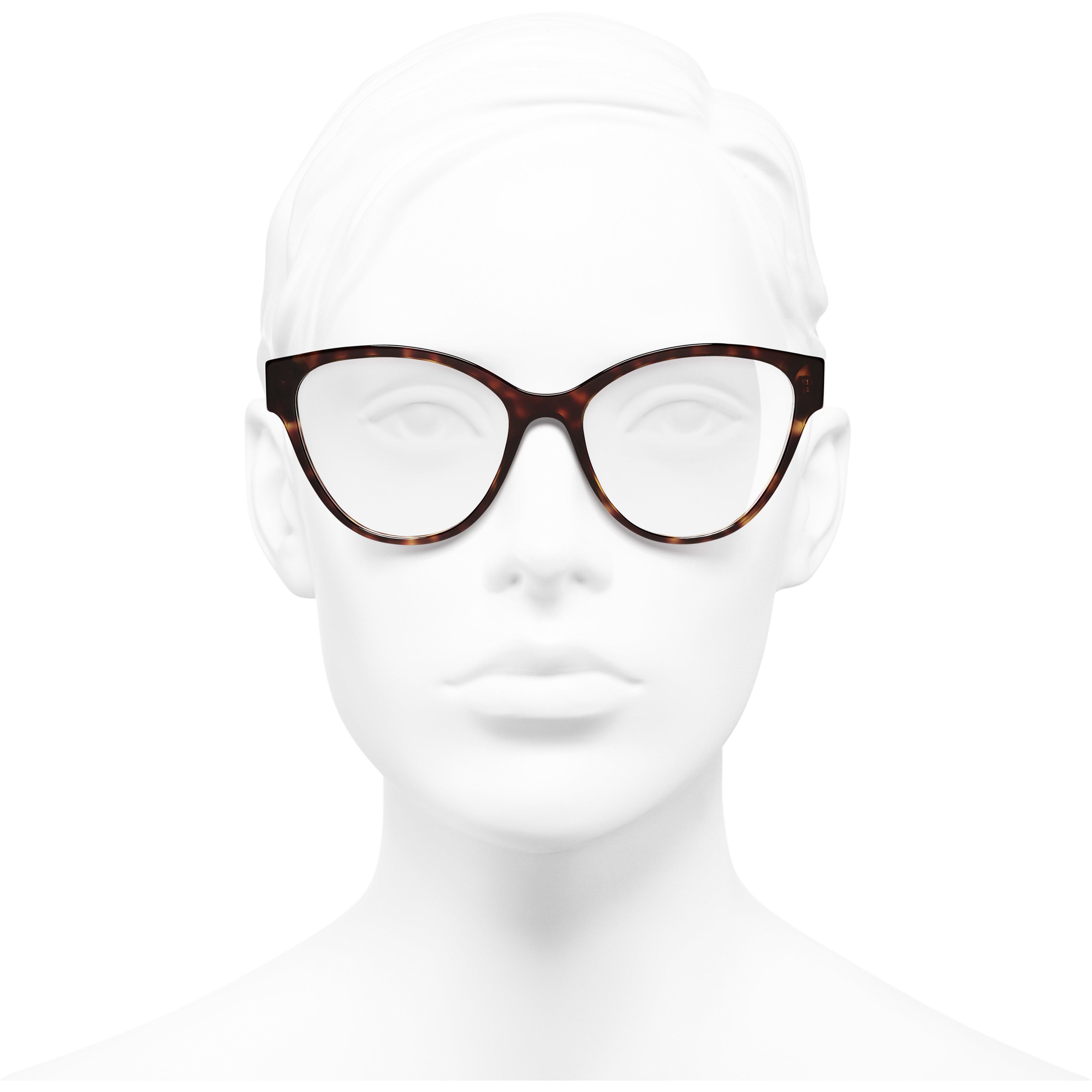 Cat Eye Eyeglasses - Dark Tortoise - Acetate - CHANEL - Worn front view - see standard sized version