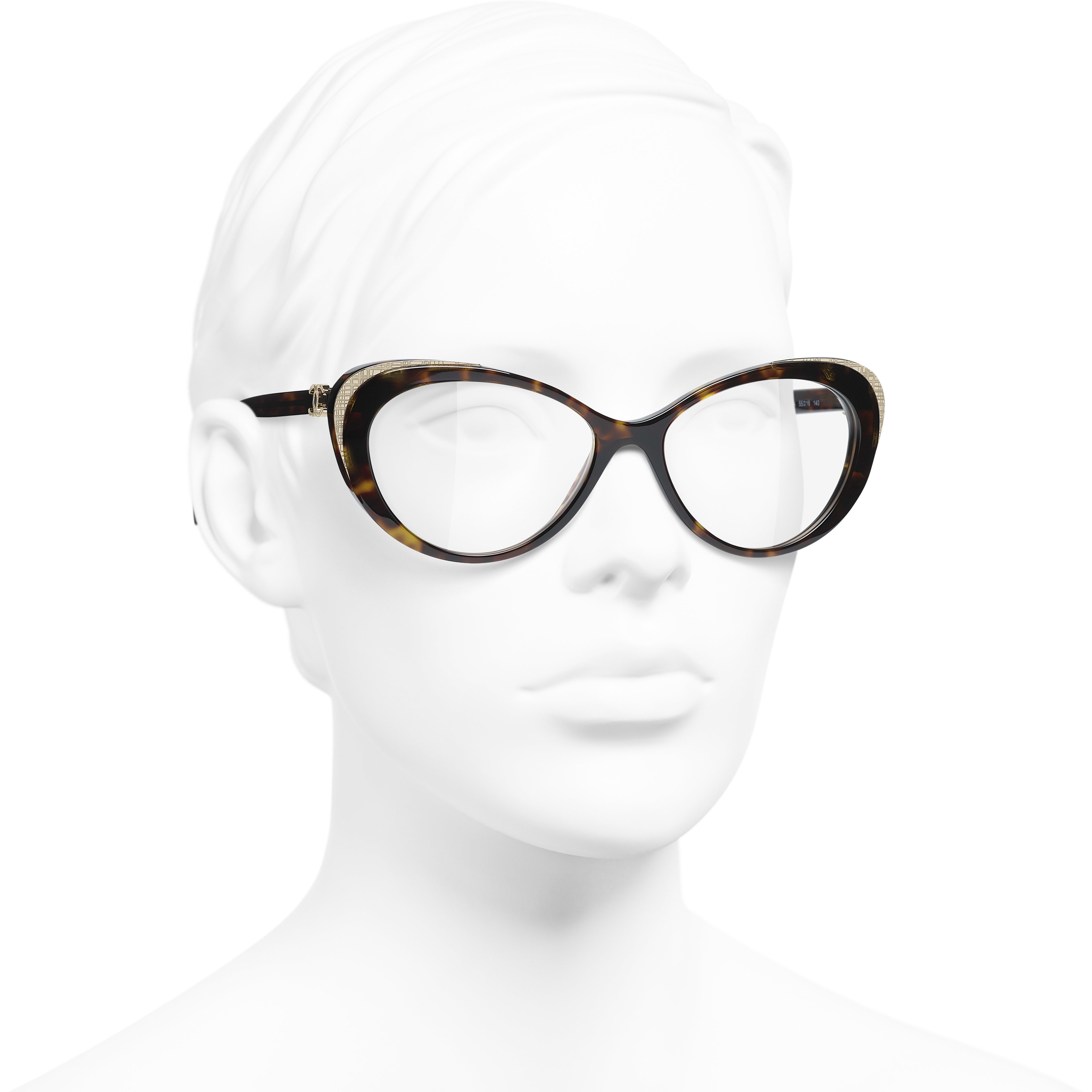 Cat Eye Eyeglasses - Dark Tortoise & Gold - Acetate & Metal - CHANEL - Worn 3/4 view - see standard sized version