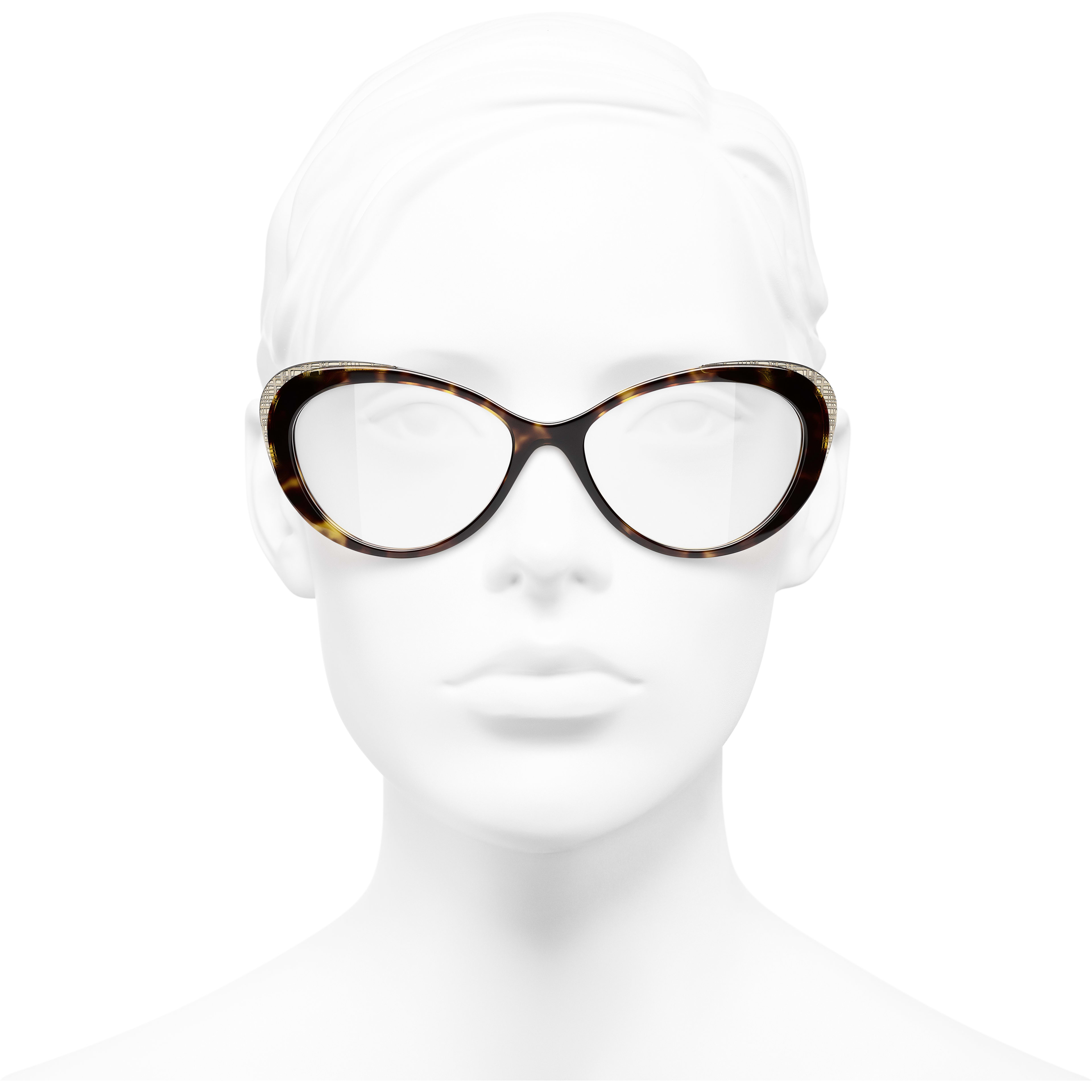 Cat Eye Eyeglasses - Dark Tortoise & Gold - Acetate & Metal - CHANEL - Worn front view - see standard sized version