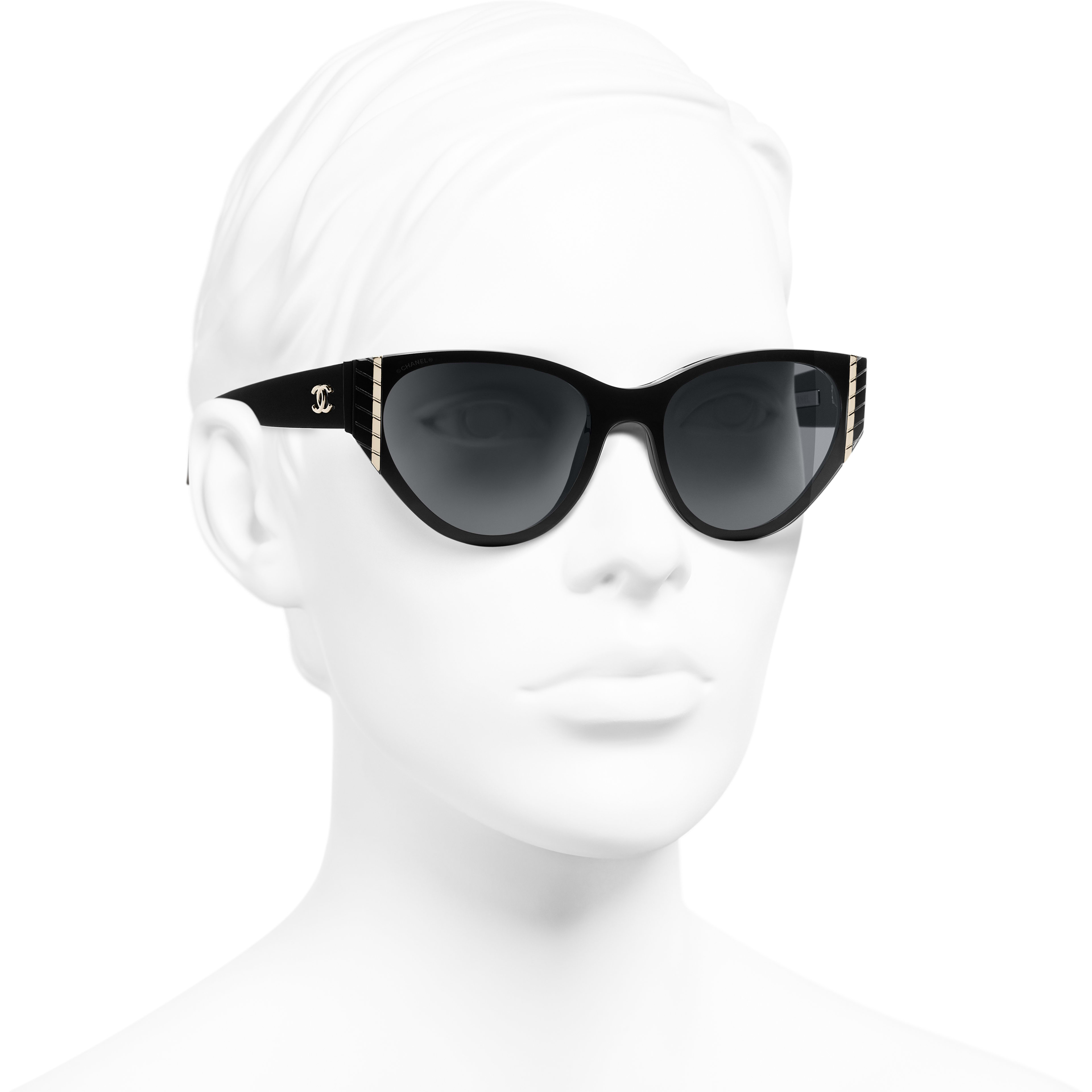Cat Eye Sunglasses - Black - Acetate - CHANEL - Worn 3/4 view - see standard sized version